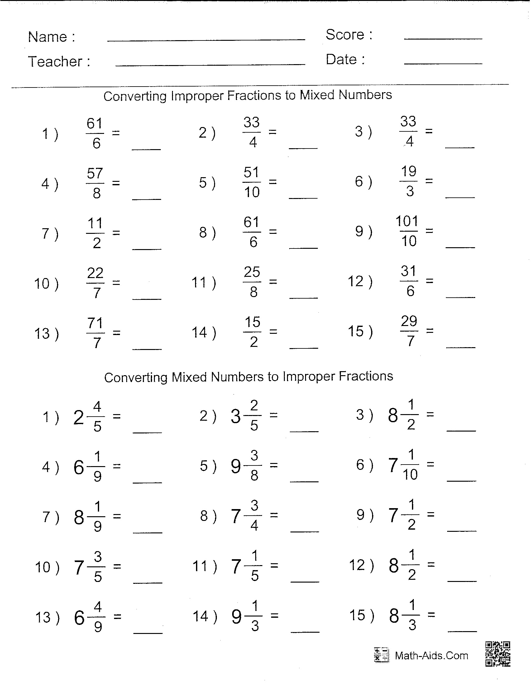 Ninth Grade Math Worksheet