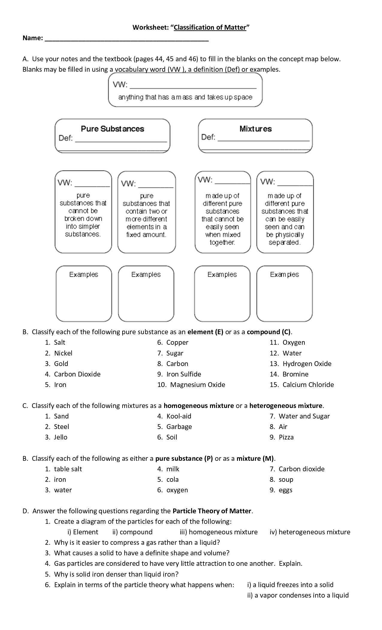 Classification Of Matter Worksheet With Answers