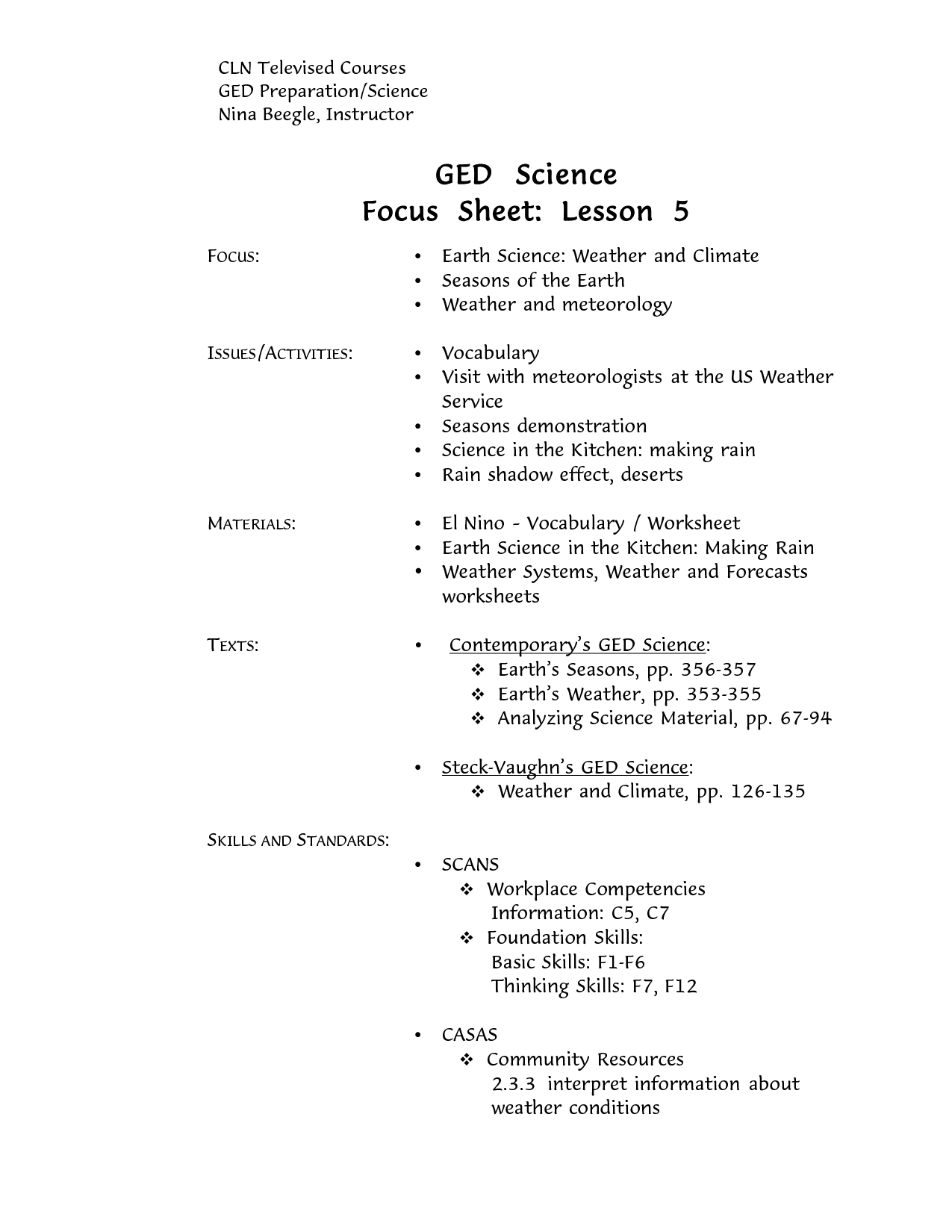 Ged Literature Worksheet