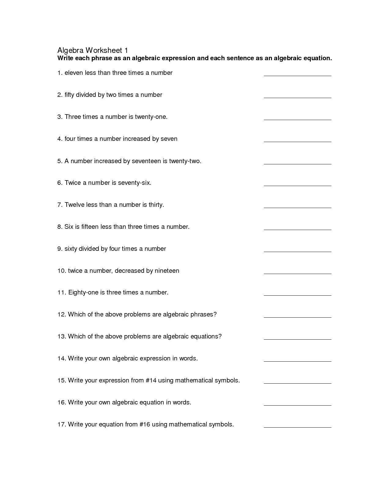 12 Best Images Of High School Algebra 1 Worksheets
