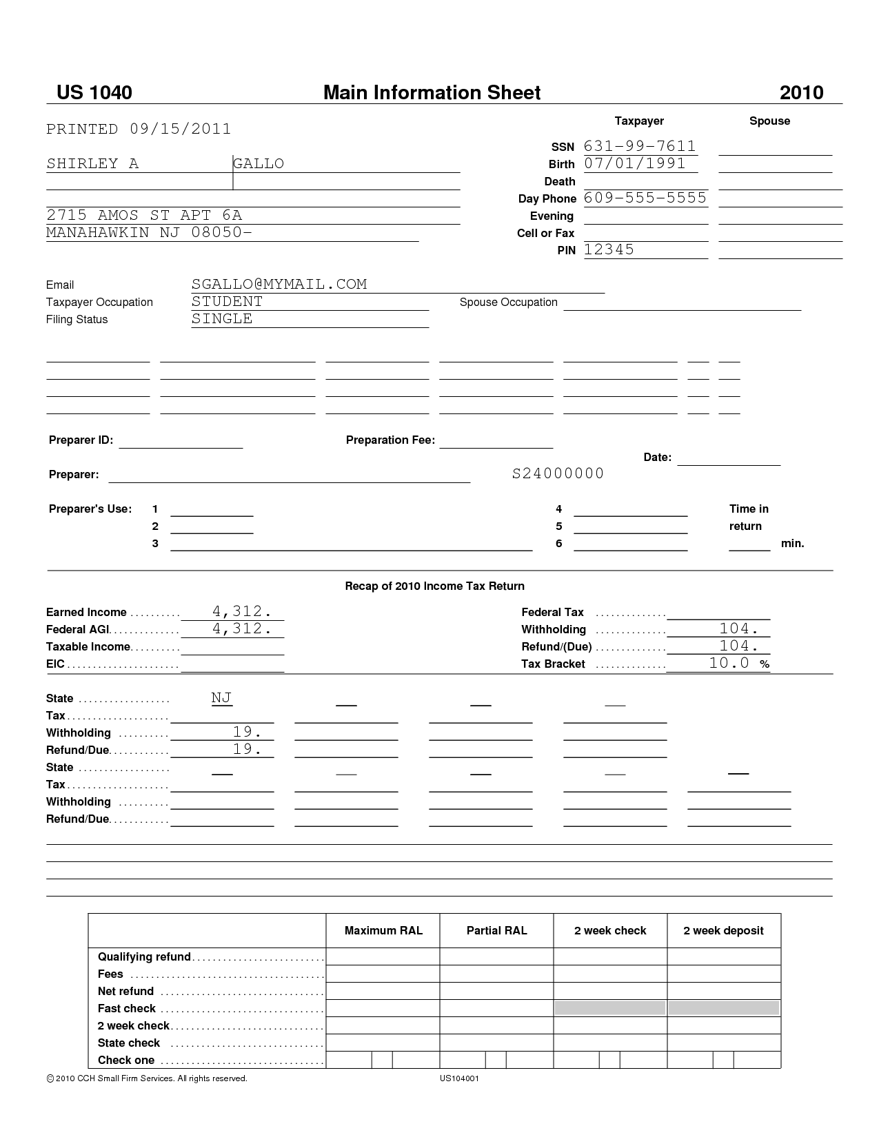 Financial Aid Worksheet