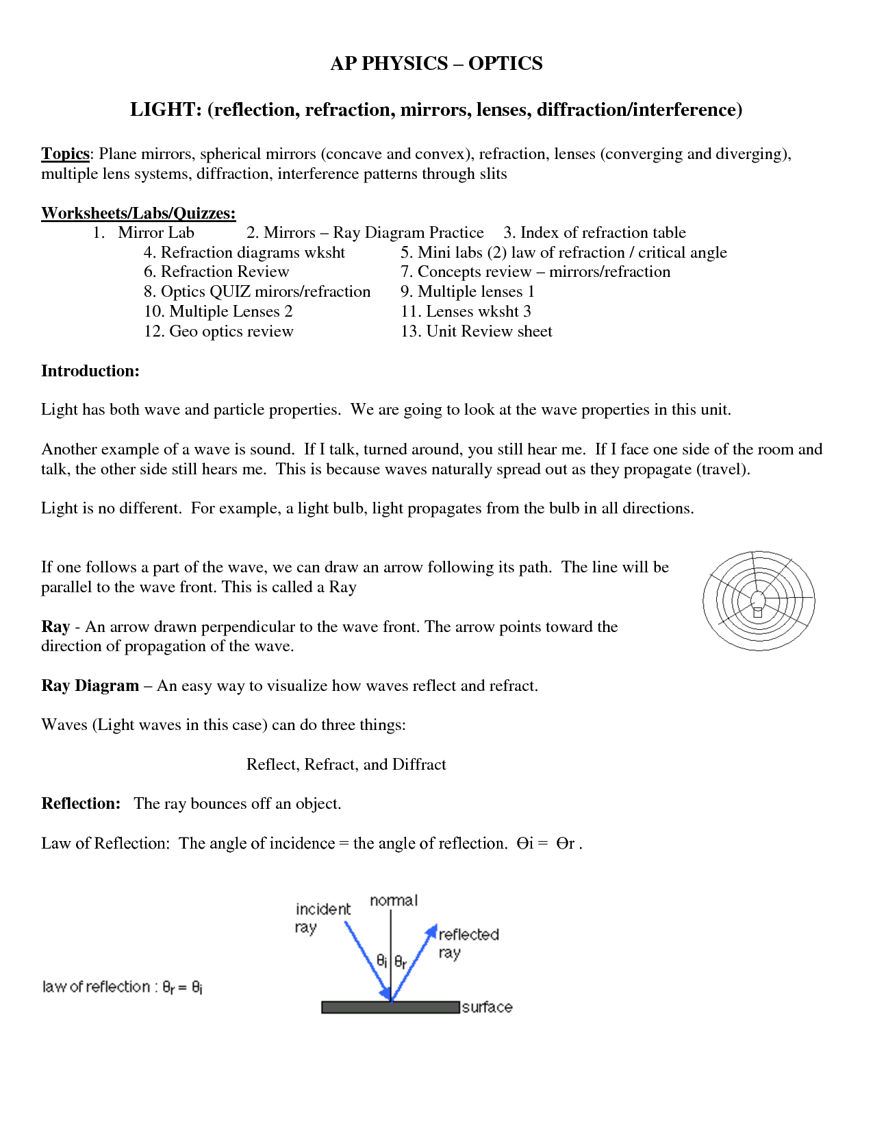Reflection And Refraction Worksheet Answers