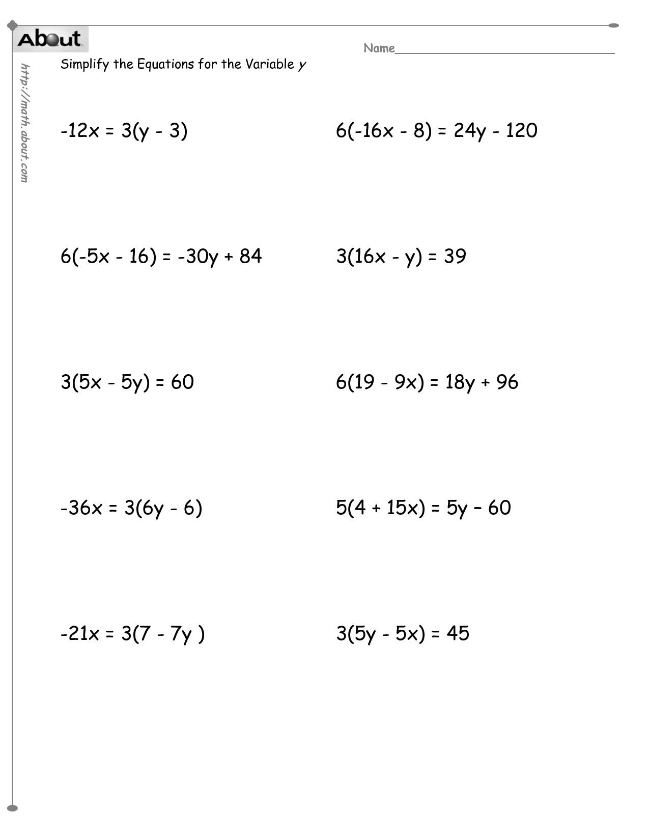 Math Worksheets Solving Equations With Variables