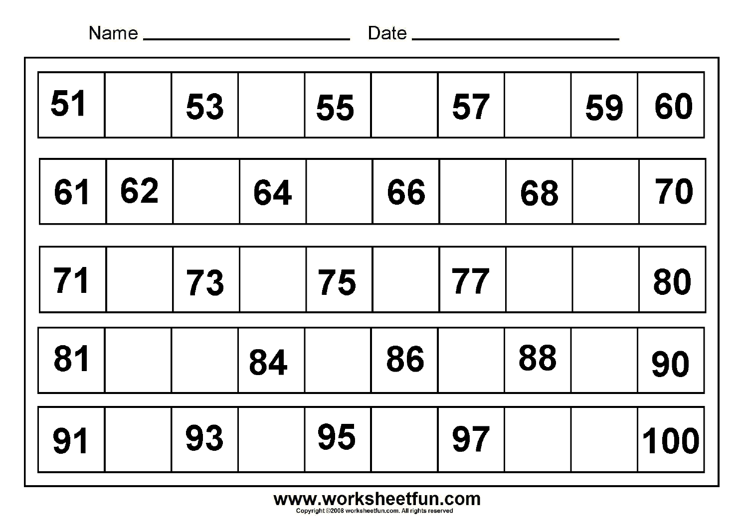 18 Best Images Of 1 To 100 Backward Missing Number Worksheets