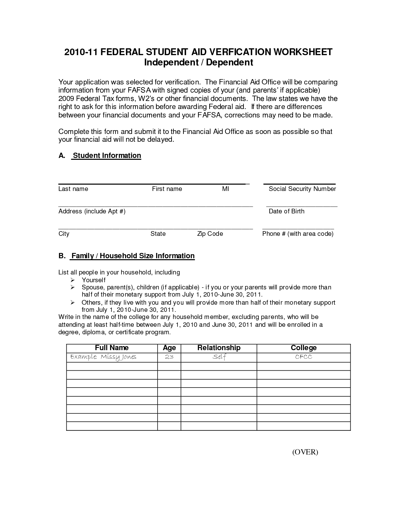 13 Best Images Of Financial Aid Verification Worksheet