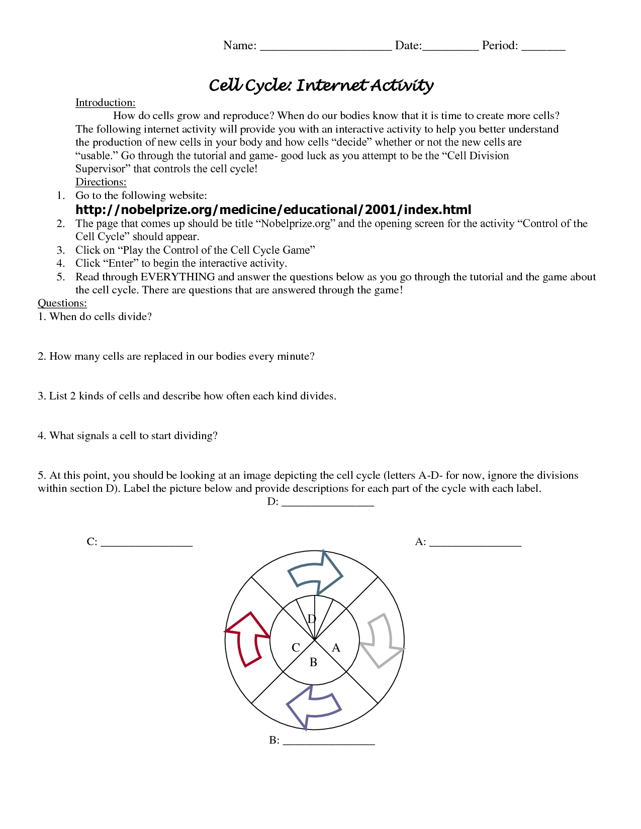 Cycle Worksheet
