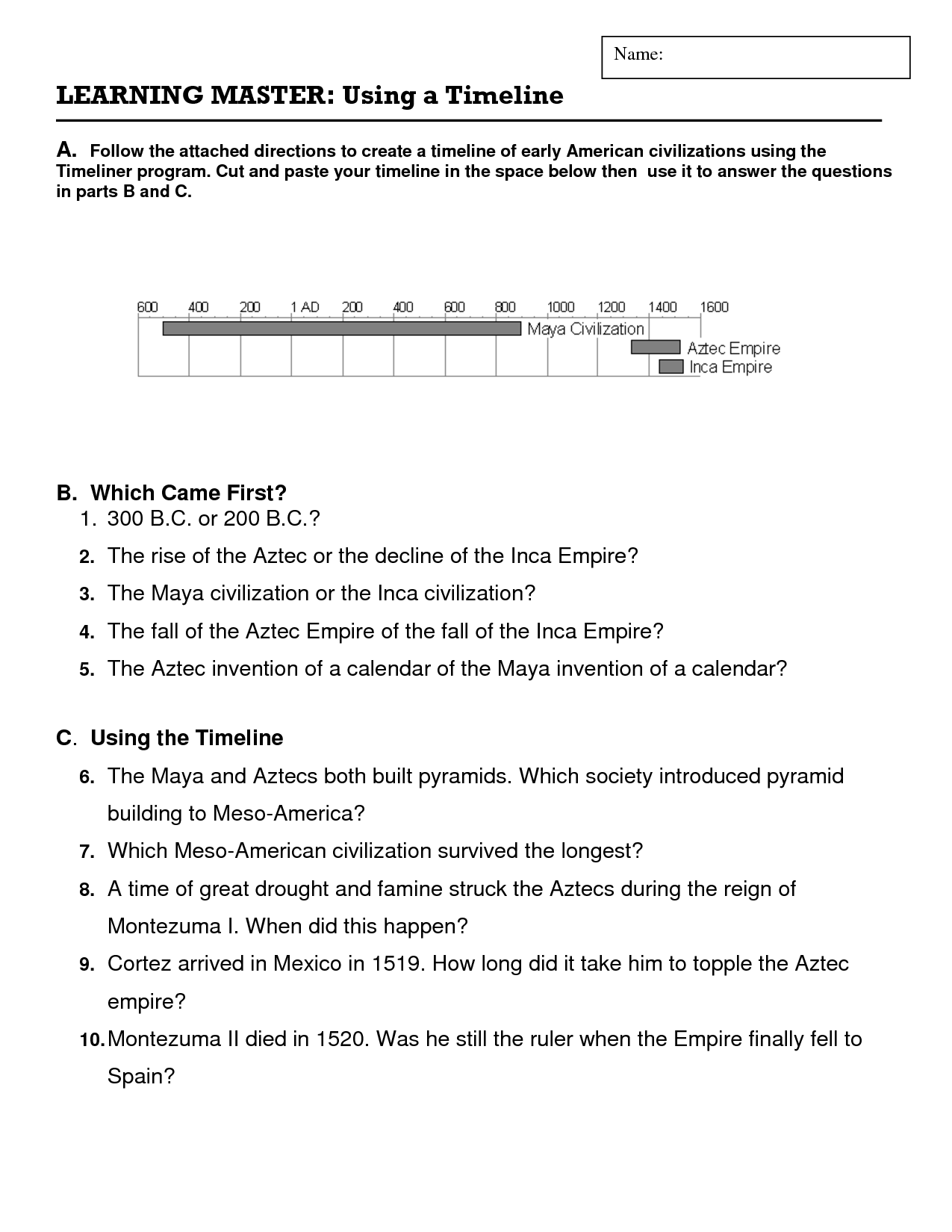 15 Best Images Of Timeline Worksheets With Questions