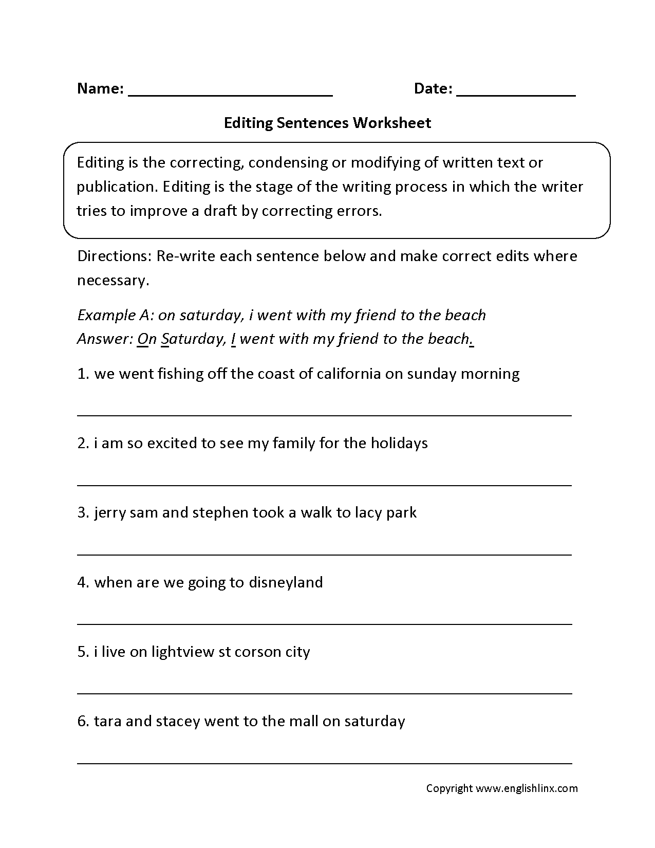 Sentence Correction Worksheets For 5th Grade