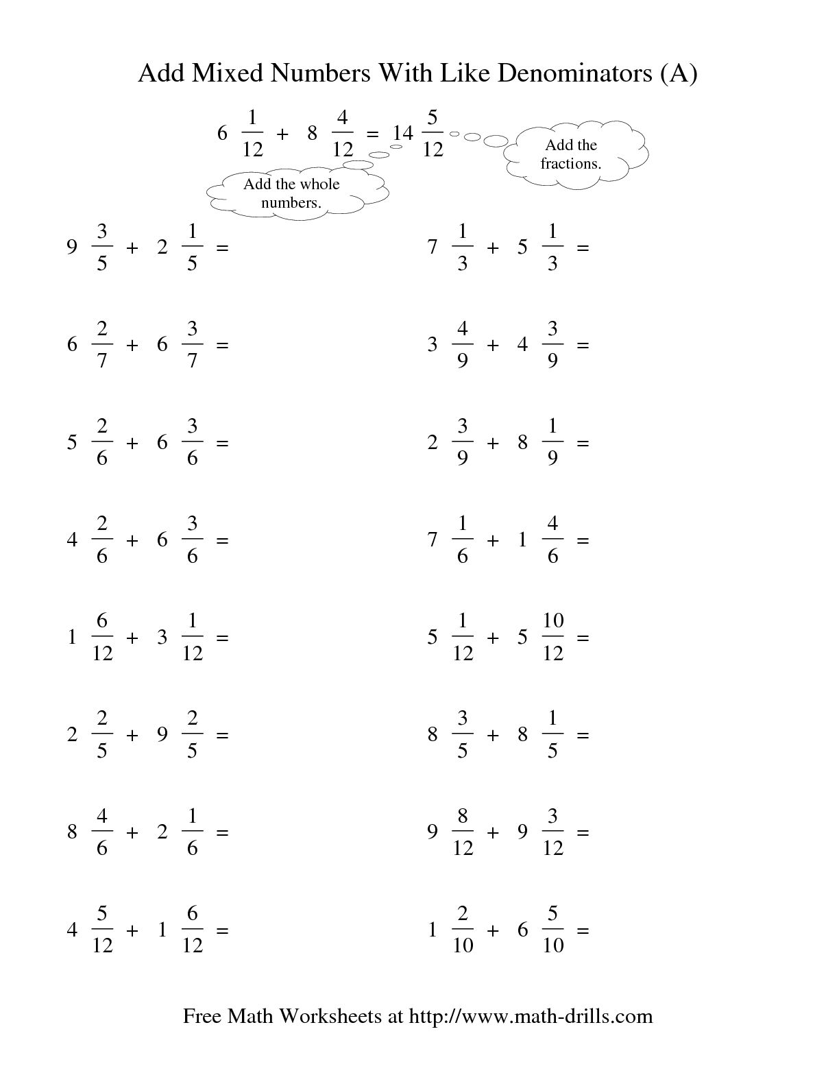 12 Best Images Of Worksheets Adding Fractions With Unlike Denominators