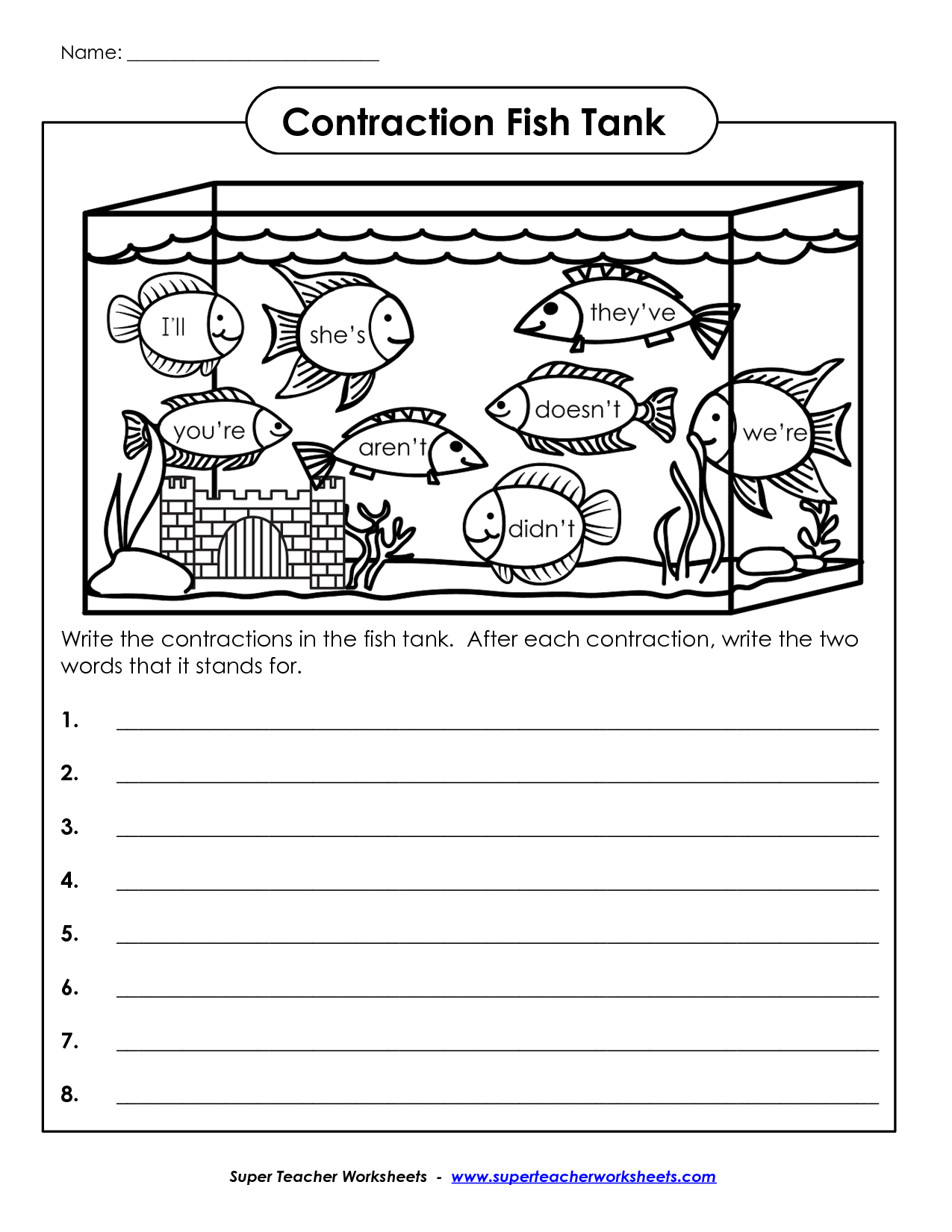 Math Worksheet Contractions