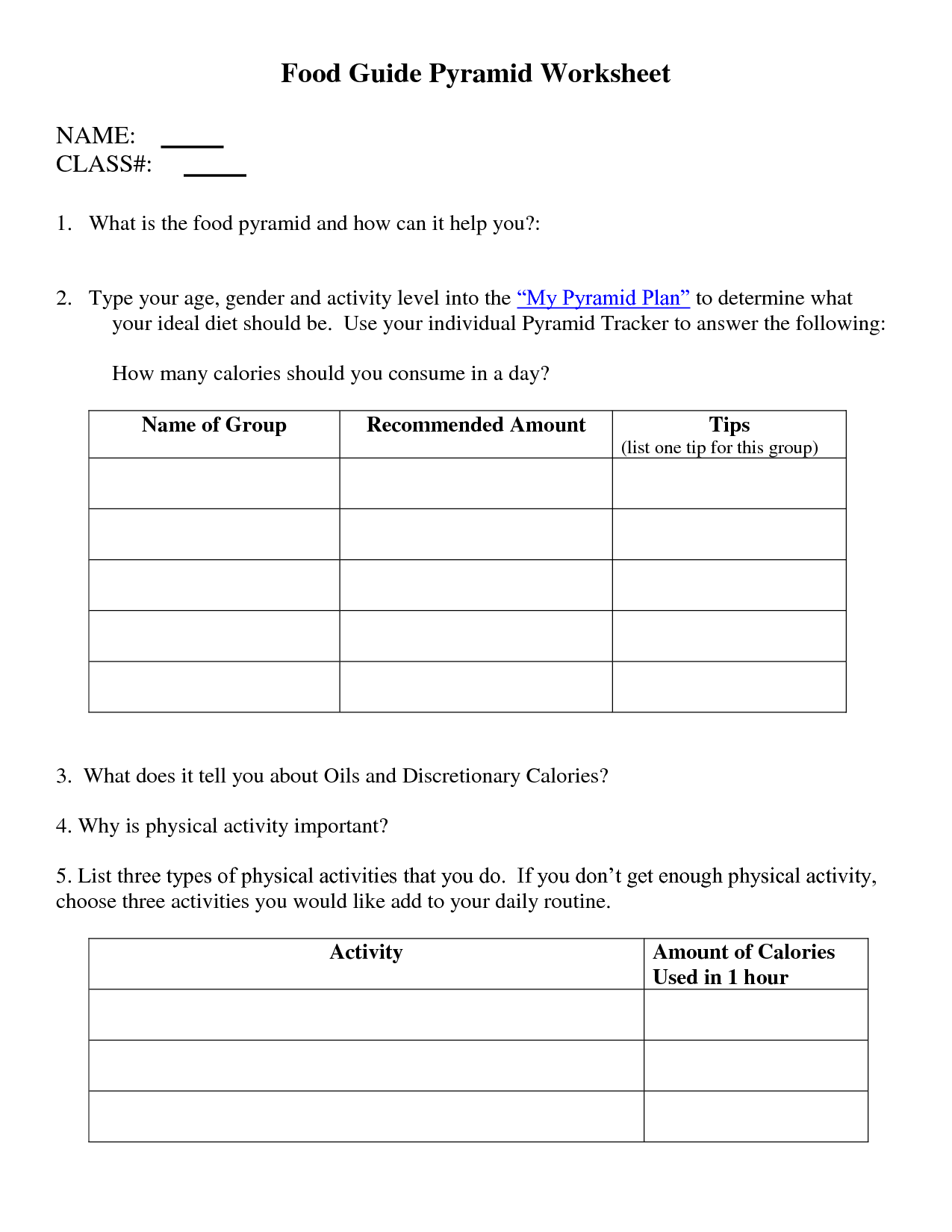 13 Best Images Of Physical Activity Pyramid Worksheet