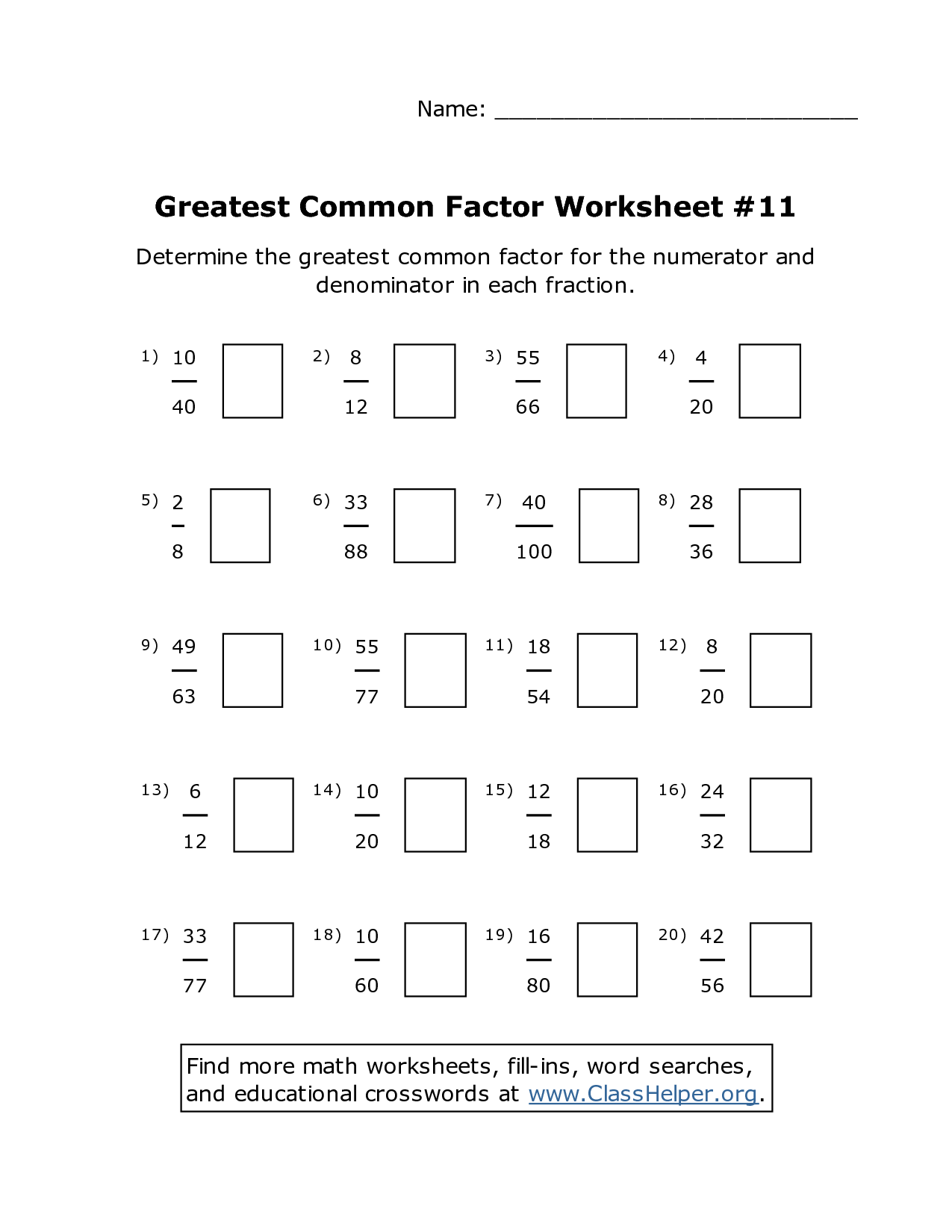 10 Best Images Of Fractions Greatest Common Factors
