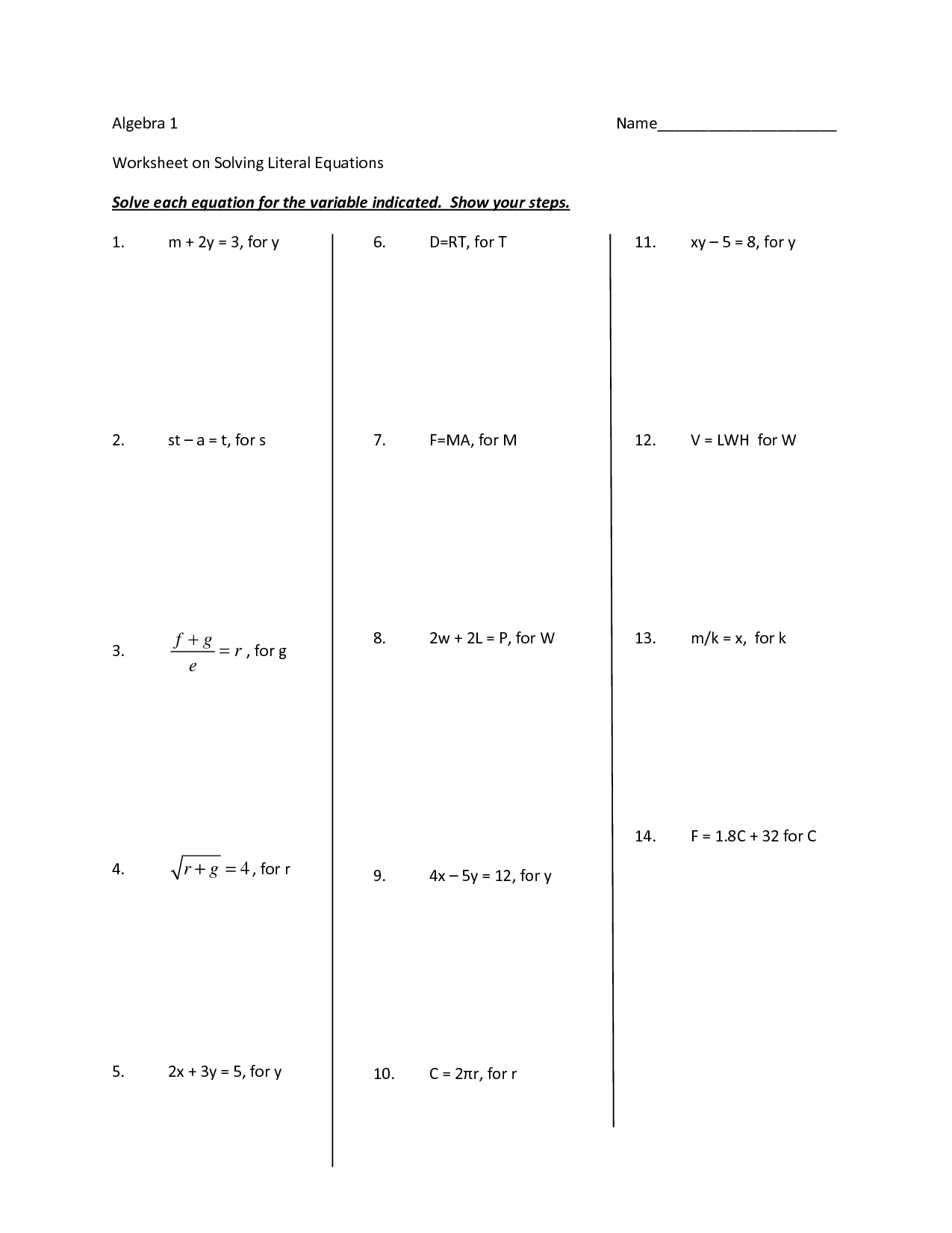 15 Best Images Of Equations With Variables On Both Sides Worksheets
