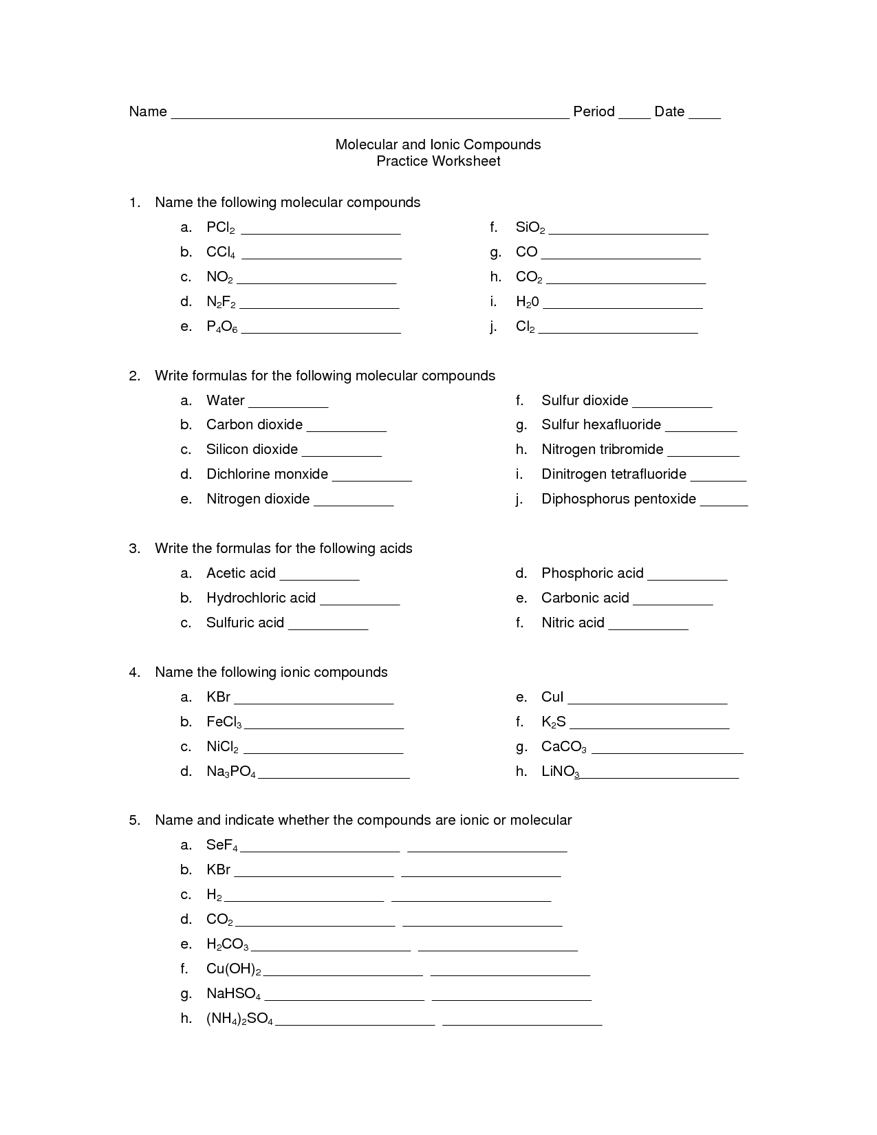 Worksheet On Naming Ionic And Molecular Compounds