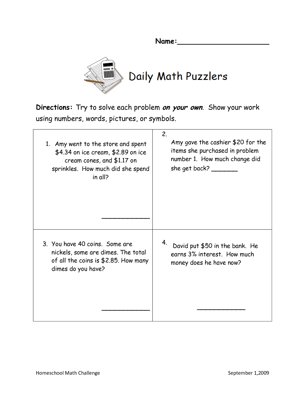 15 Best Images Of Counting Money Word Problems Worksheet