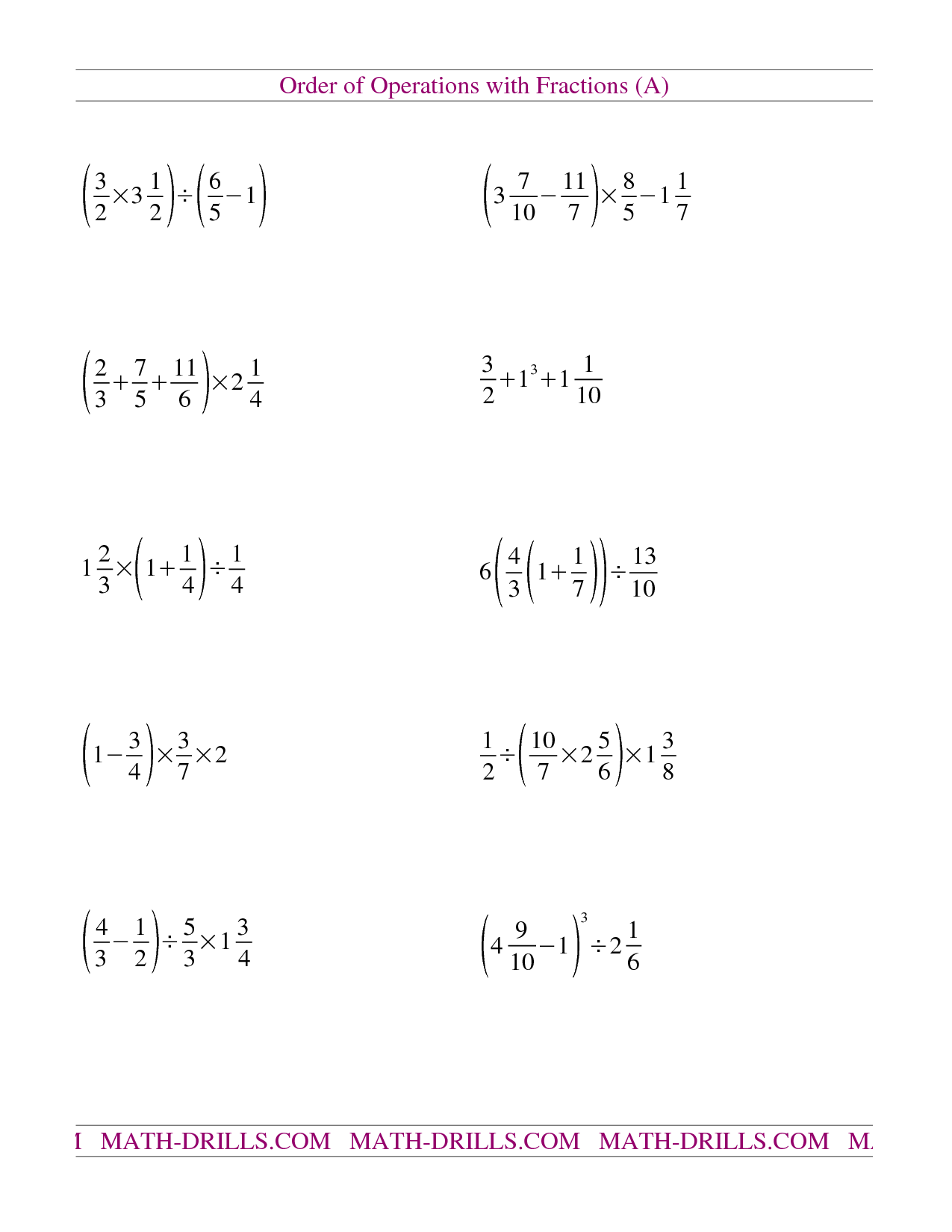 Mixed Integer Worksheet Order Of Operations