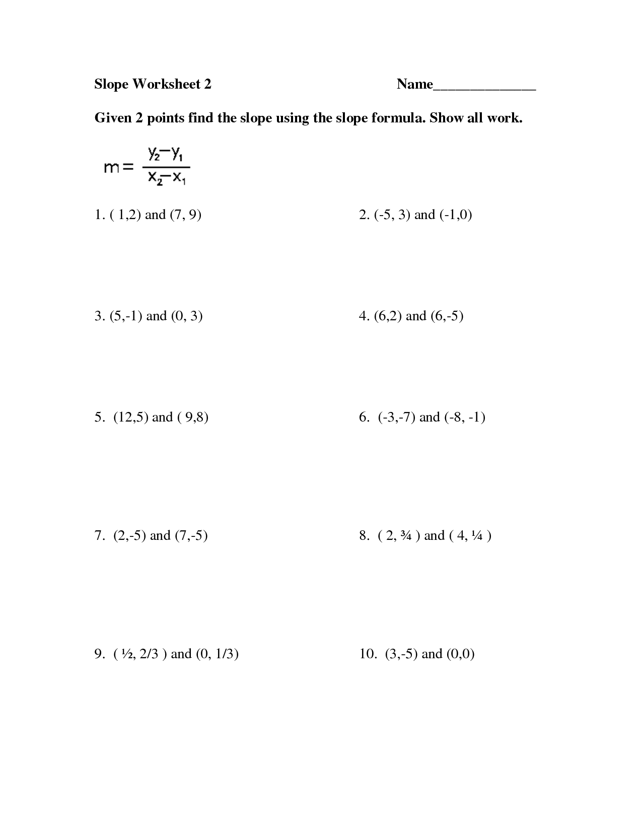 Slope With Two Points Worksheet