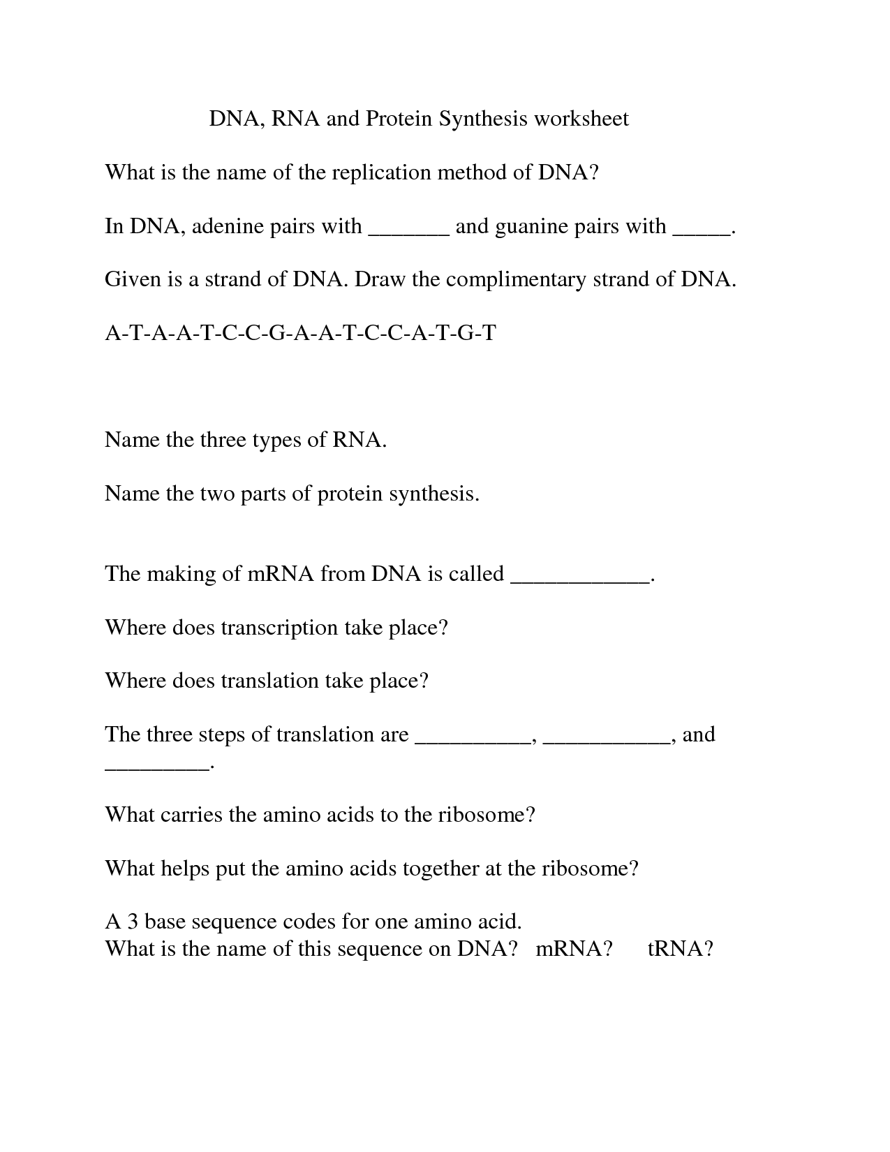 16 Best Images Of Dna And Rna Protein Synthesis Worksheet