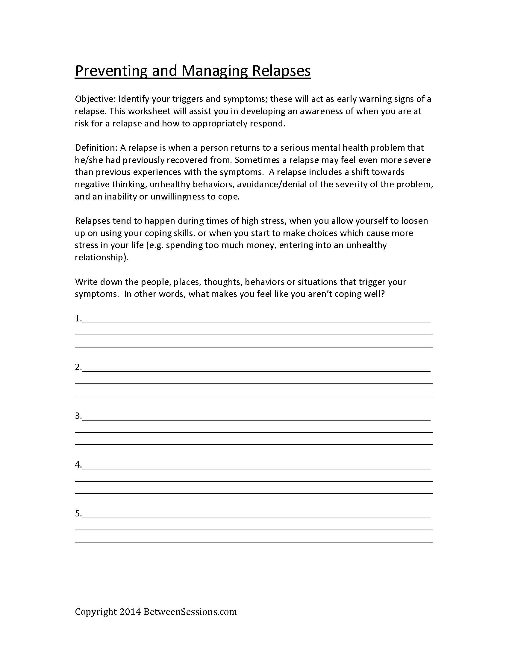 17 Best Images Of Managing Depression Worksheets