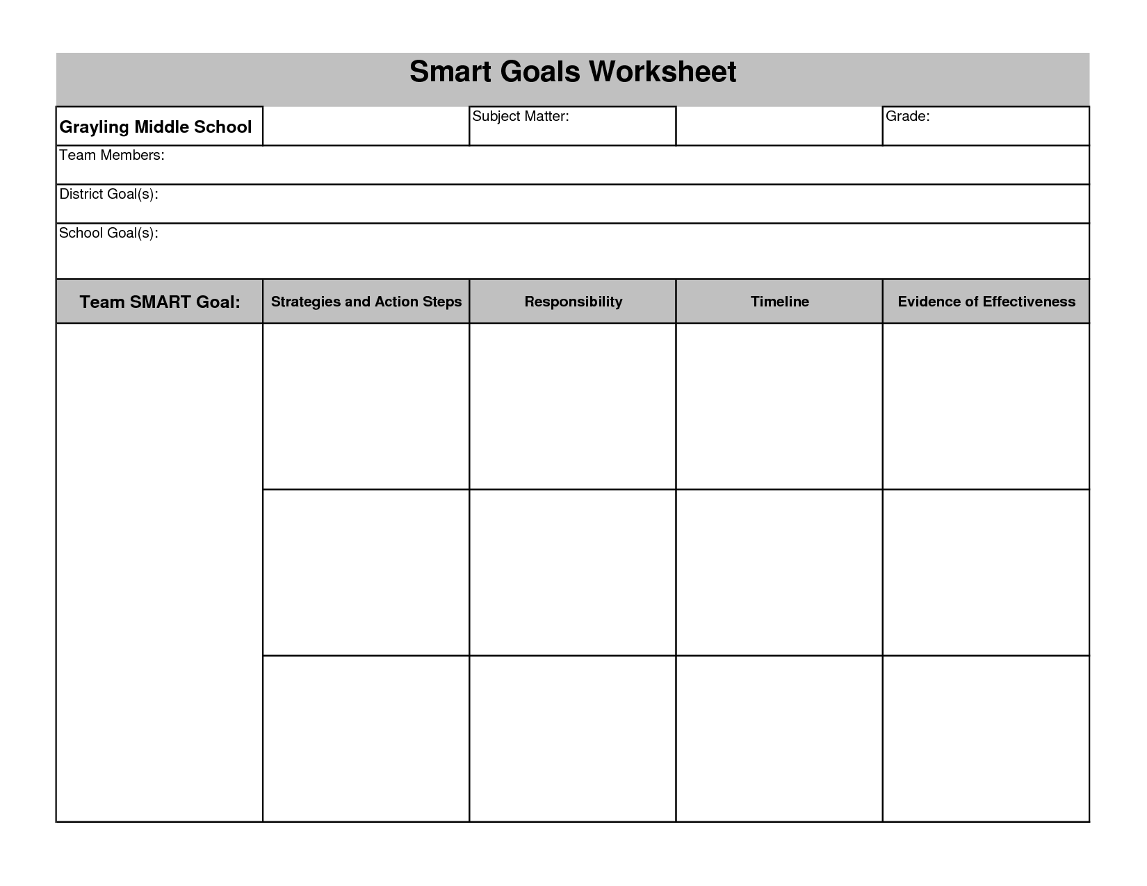 15 Best Images Of Life Goal Printable Worksheet