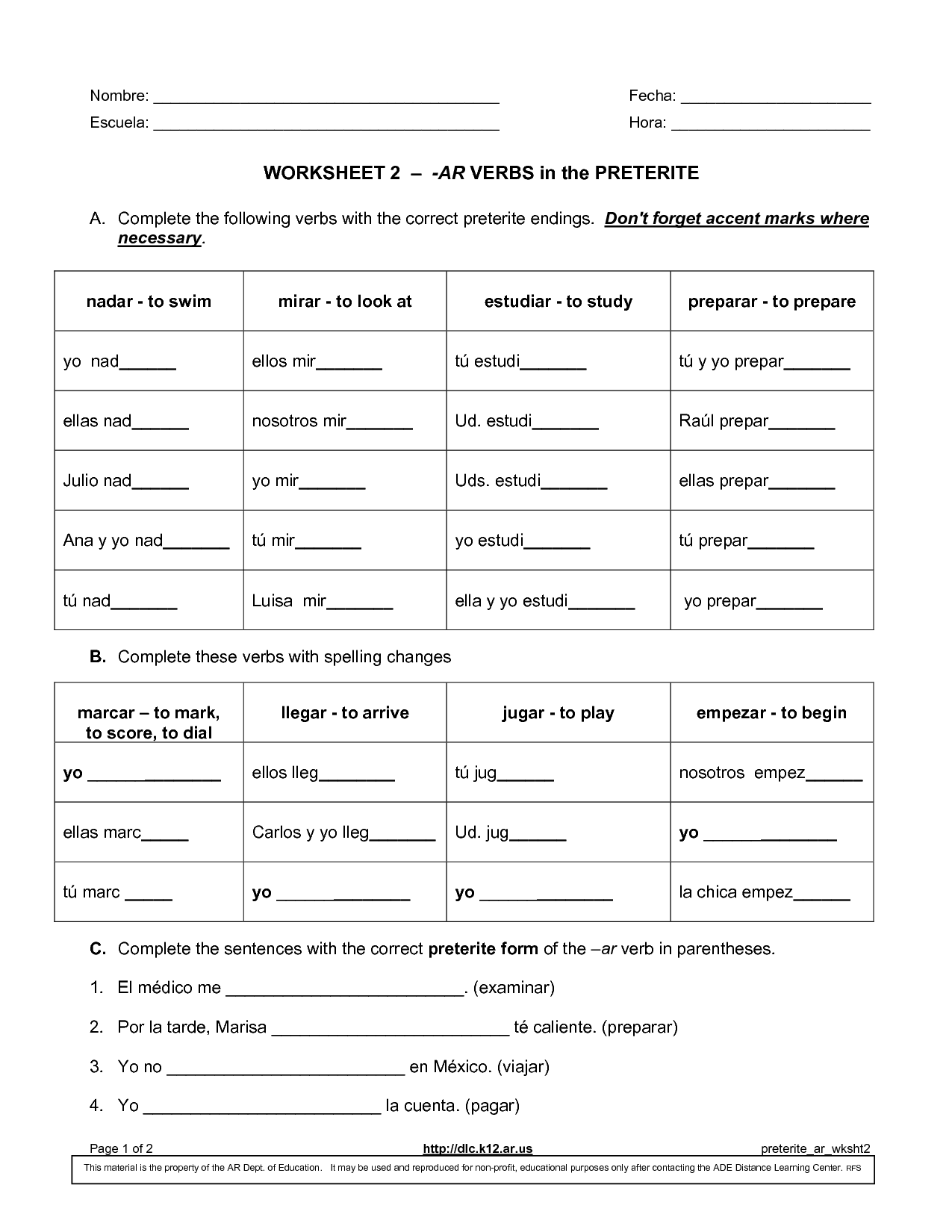 14 Best Images Of Spanish Ar Verb Conjugation Worksheet