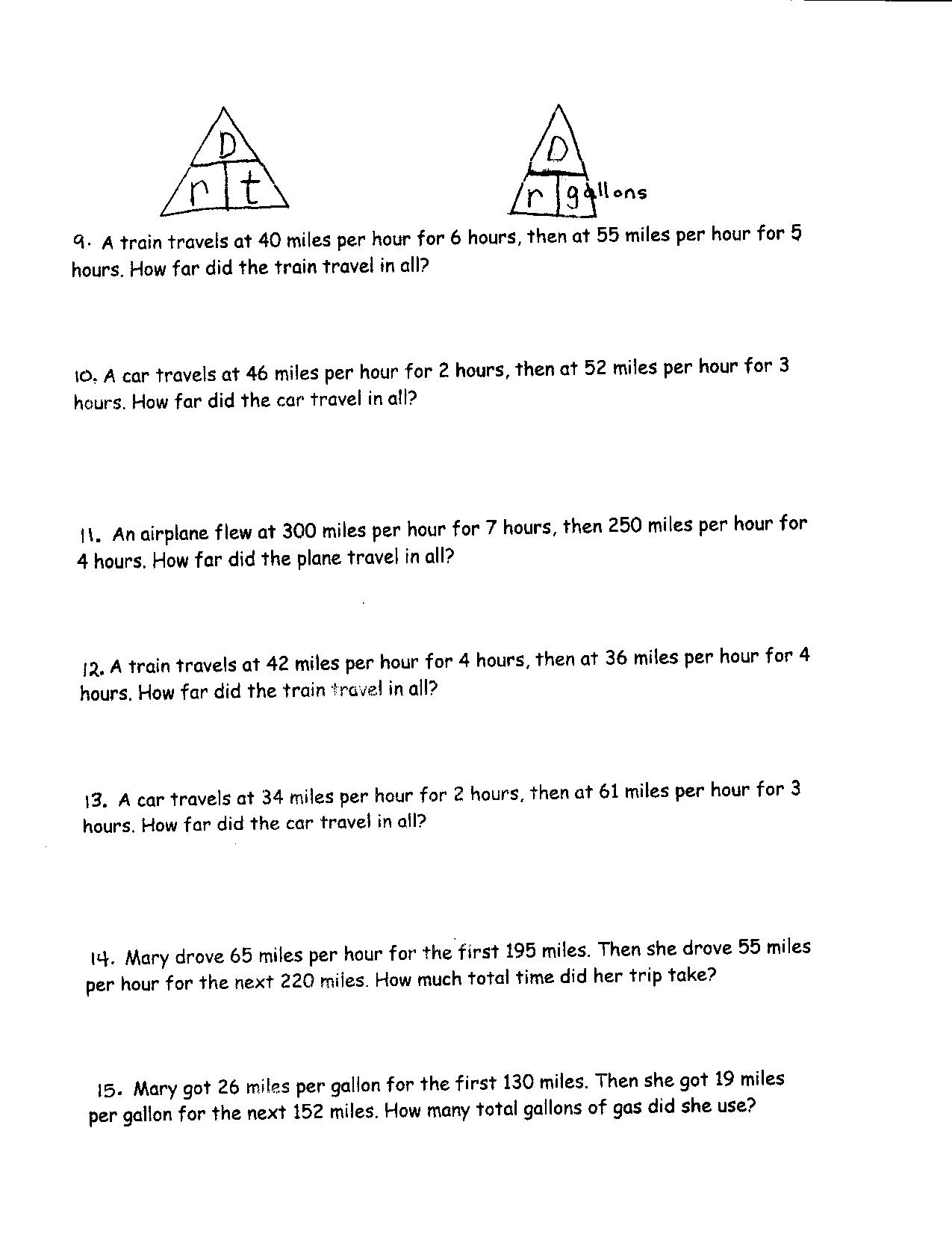 Distance Speed Time Worksheet