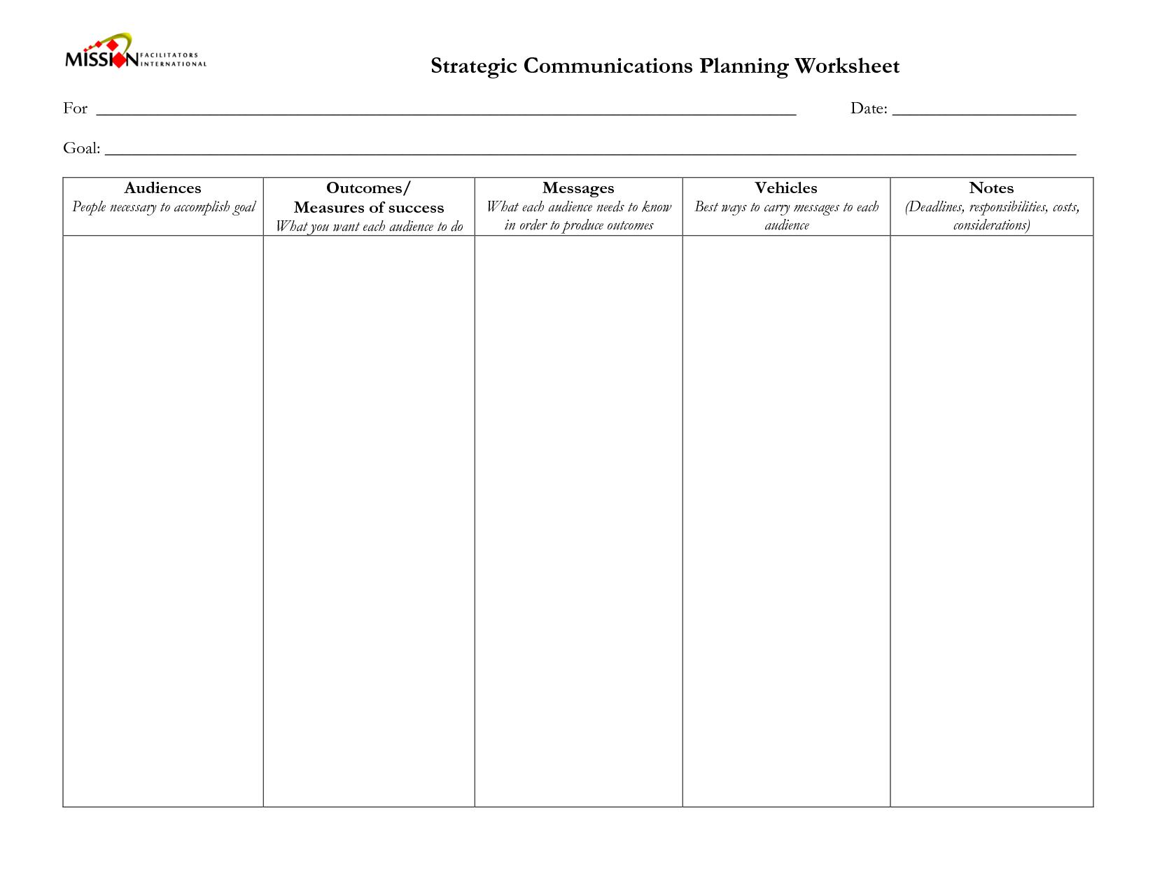 19 Best Images Of Strategic Goals Worksheet