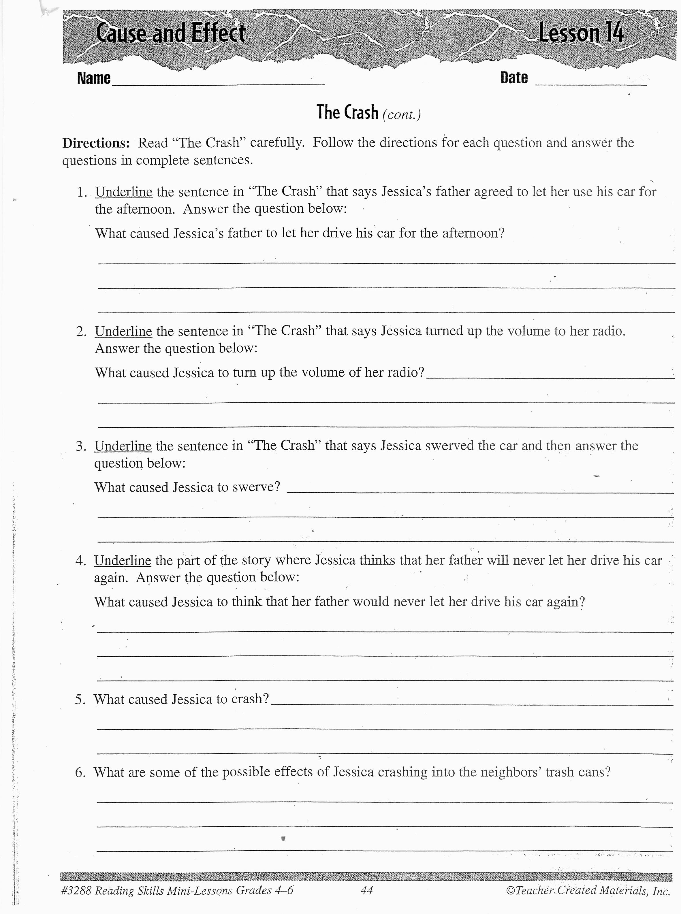 Cause And Effect Worksheet High School