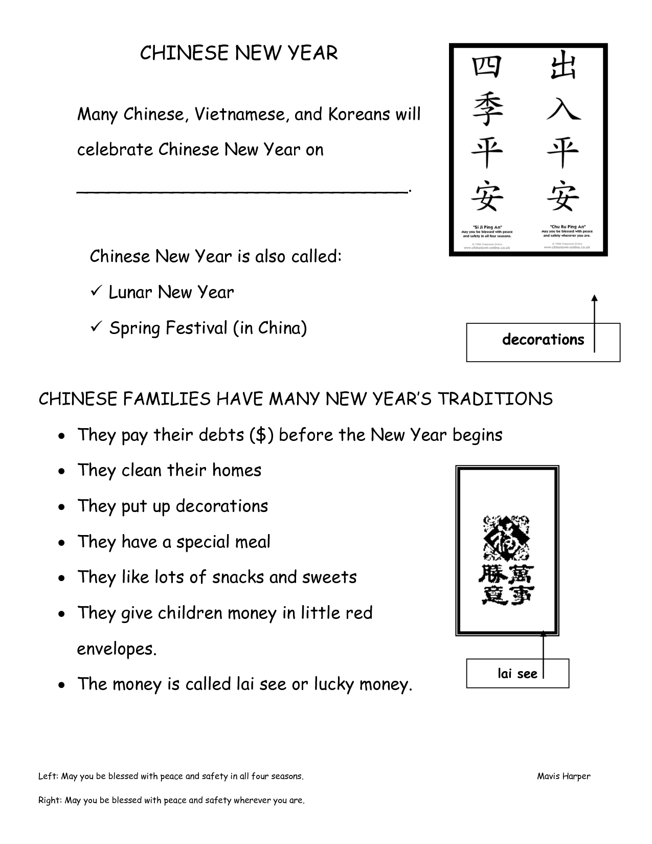 Kindergarten Chinese New Year Worksheet