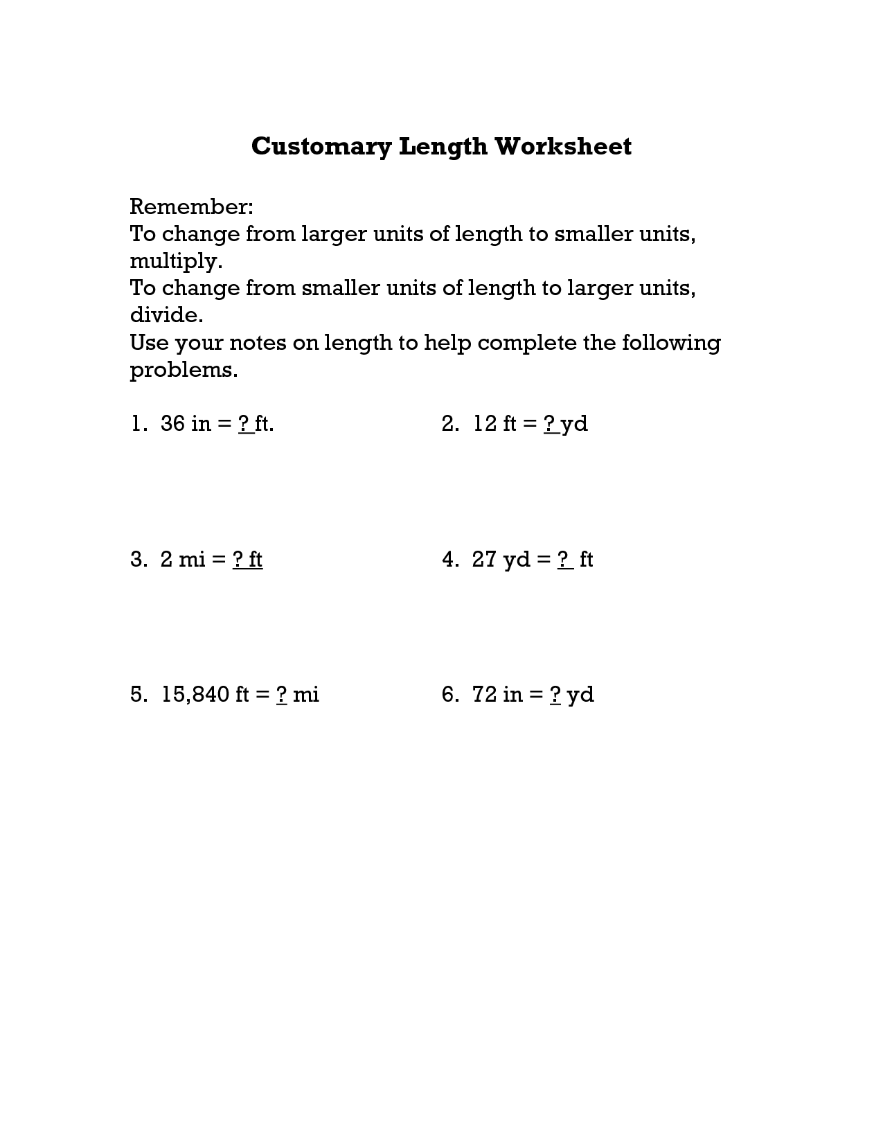 13 Best Images Of Yards To Inches Worksheets