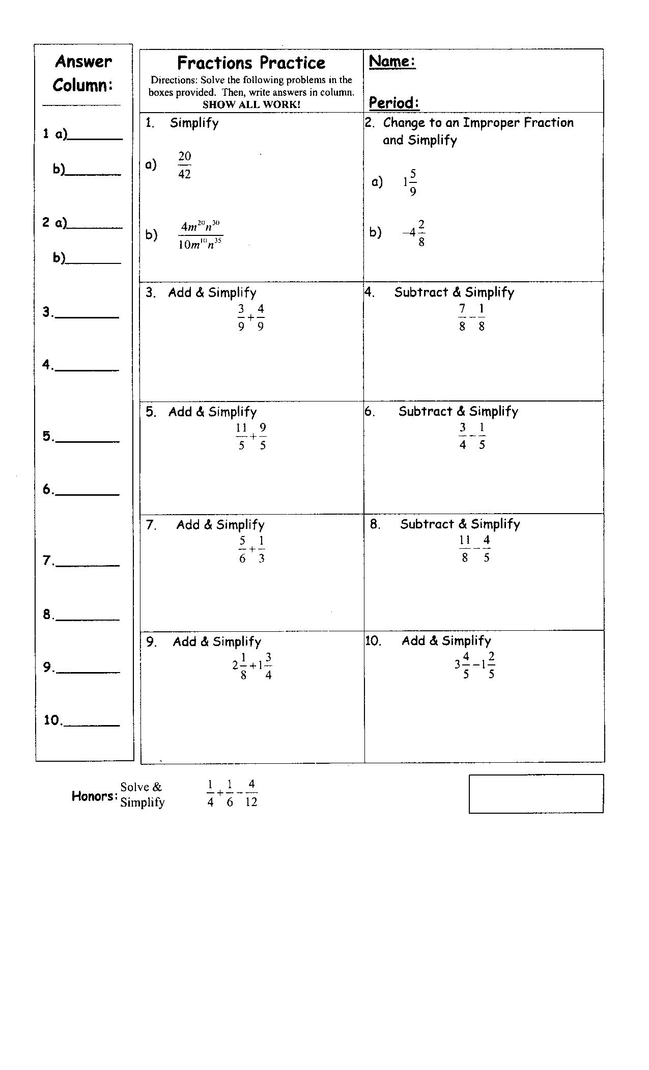 16 Best Images Of Pre Algebra Integers Worksheets