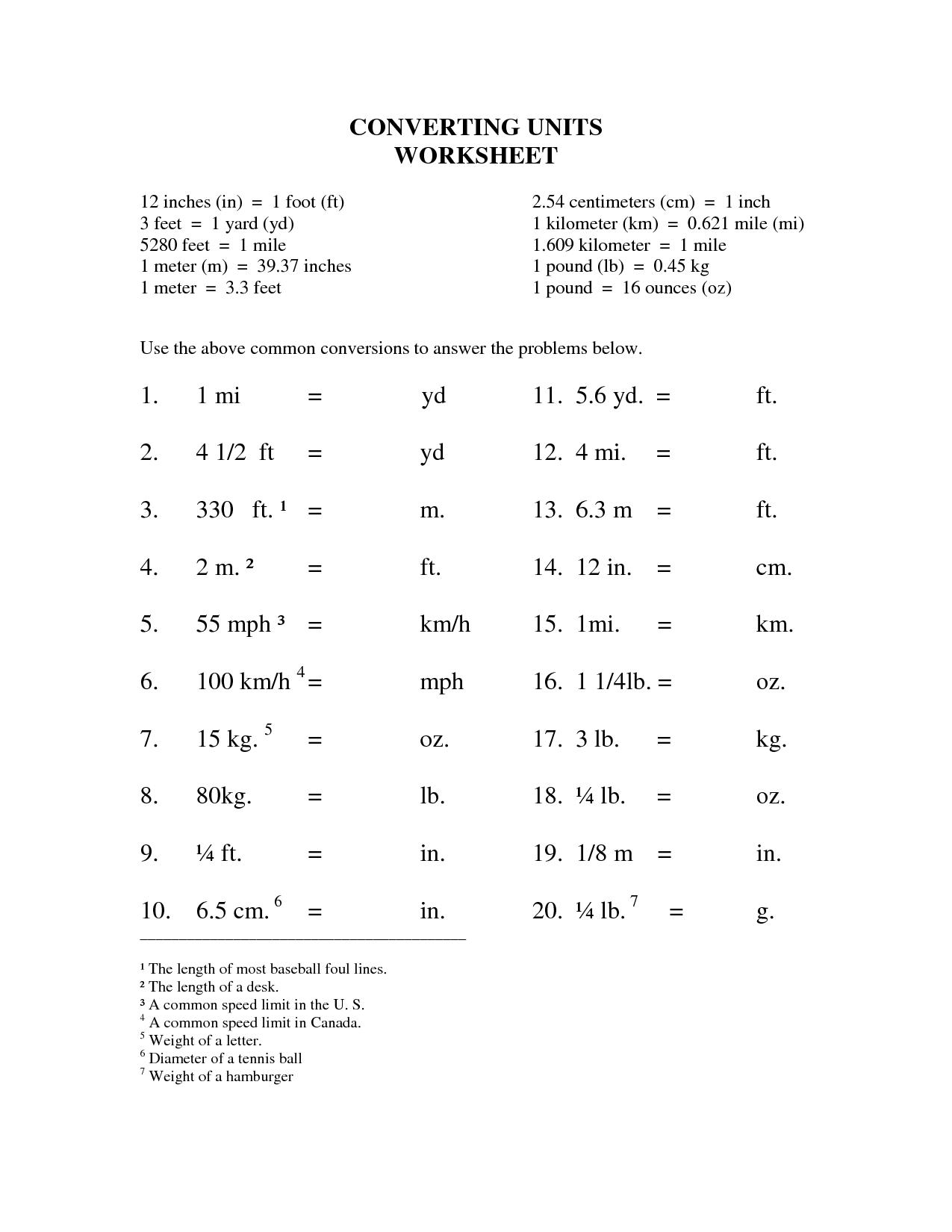 Unit Conversions Worksheet Algebra
