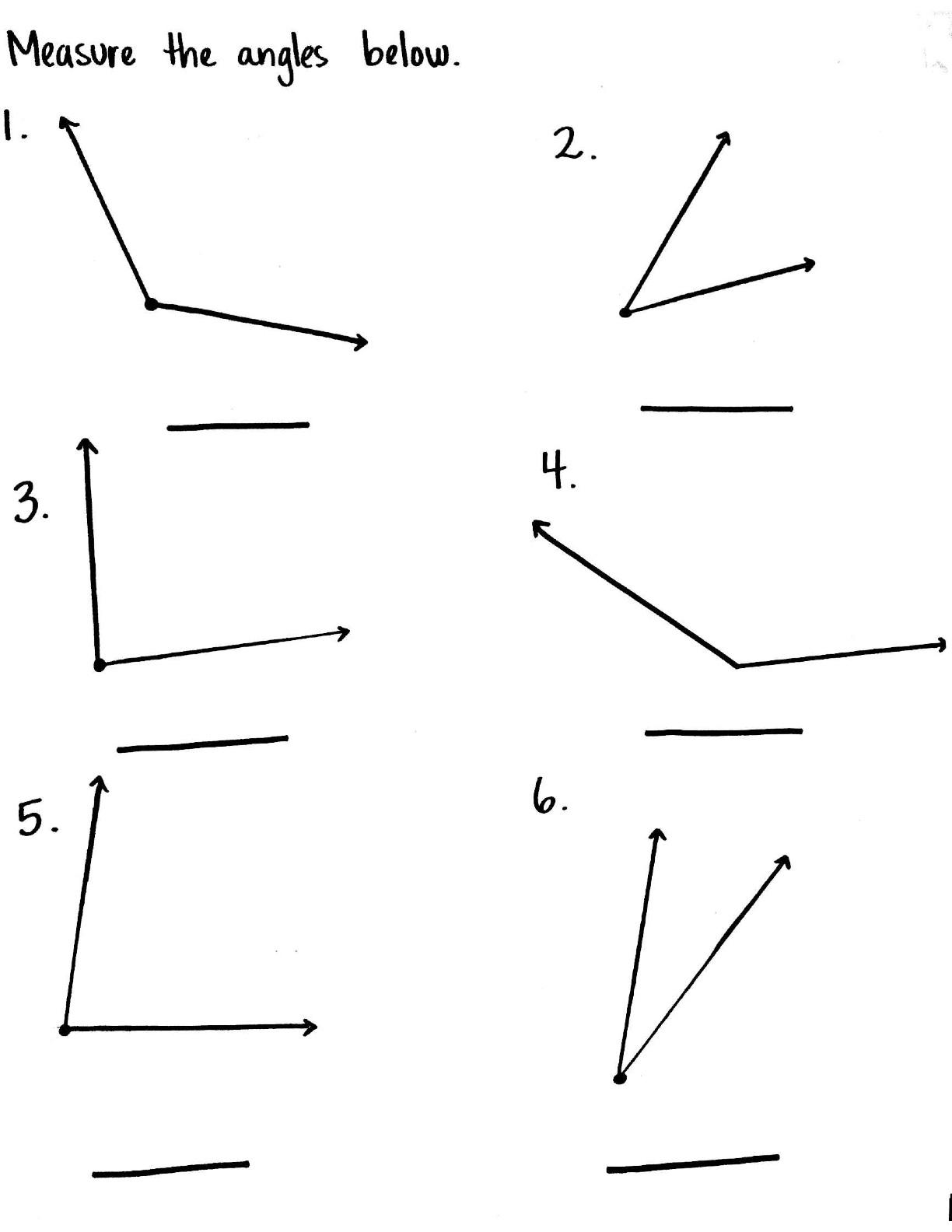 Angles Worksheet Year 4