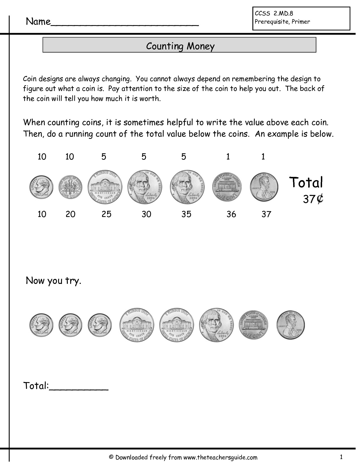 12 Best Images Of Printable Money Worksheets Coin Value