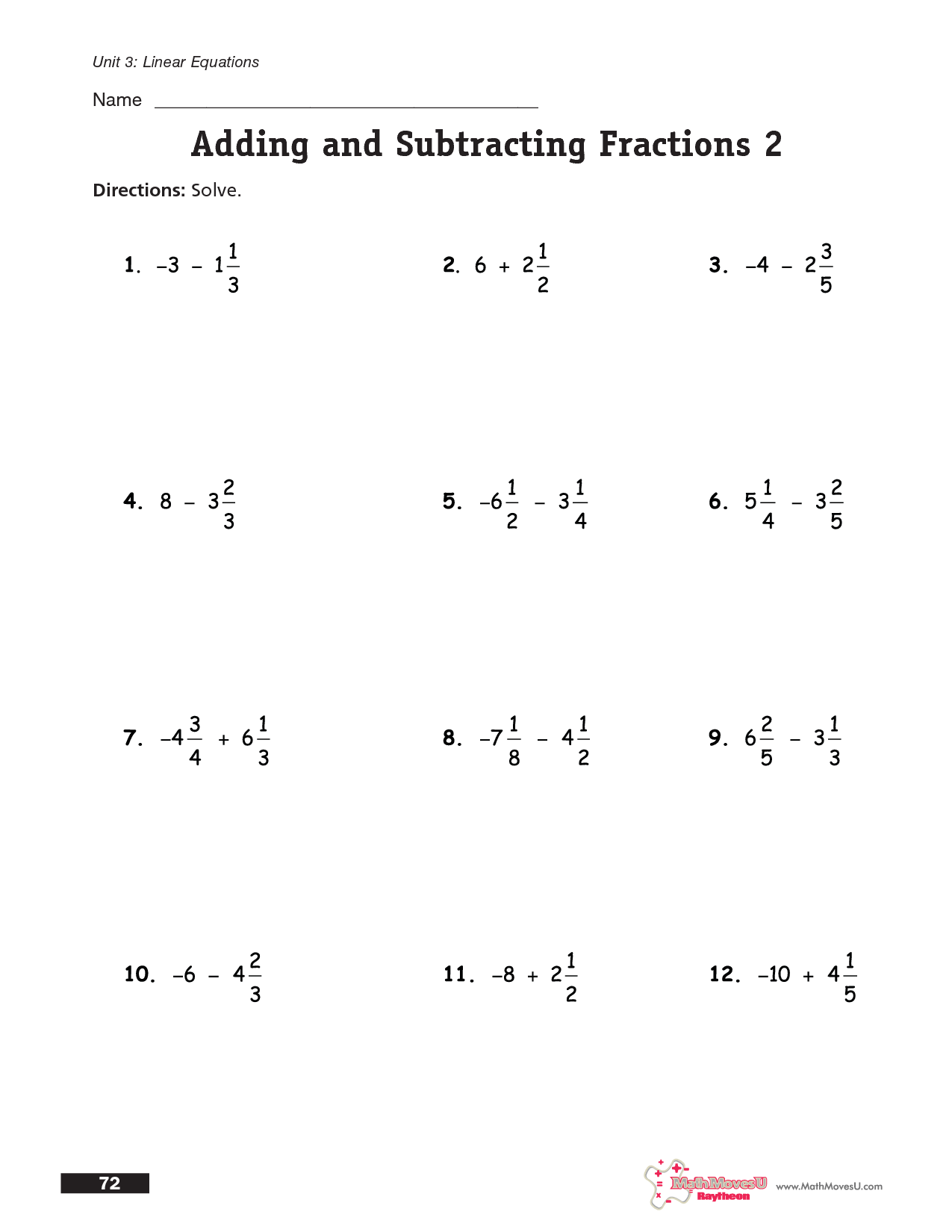 Adding And Subtracting Fractions Same Denominator