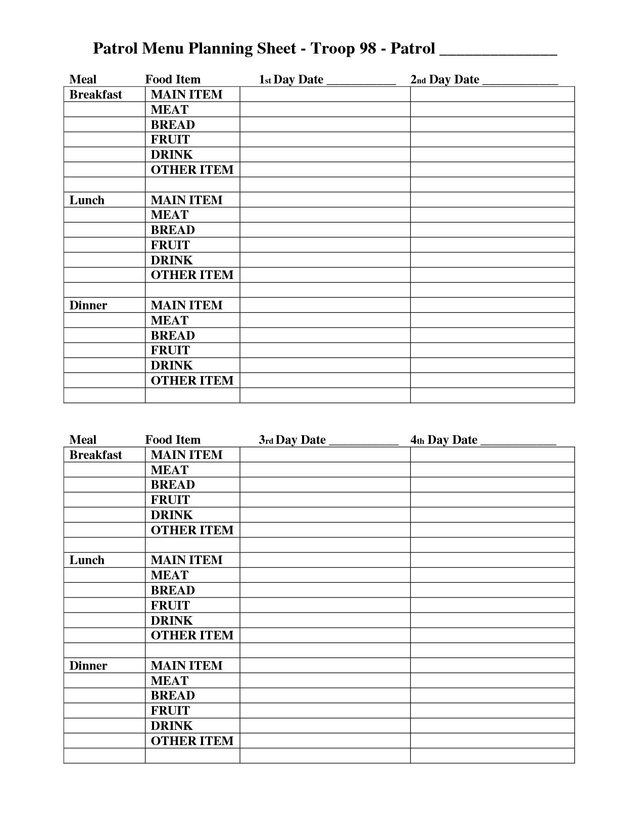 Camping Planning Worksheet