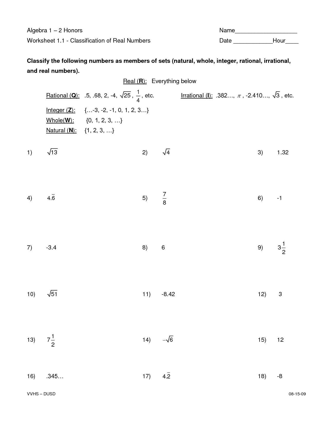 Real Rational Irrational Numbers Worksheet