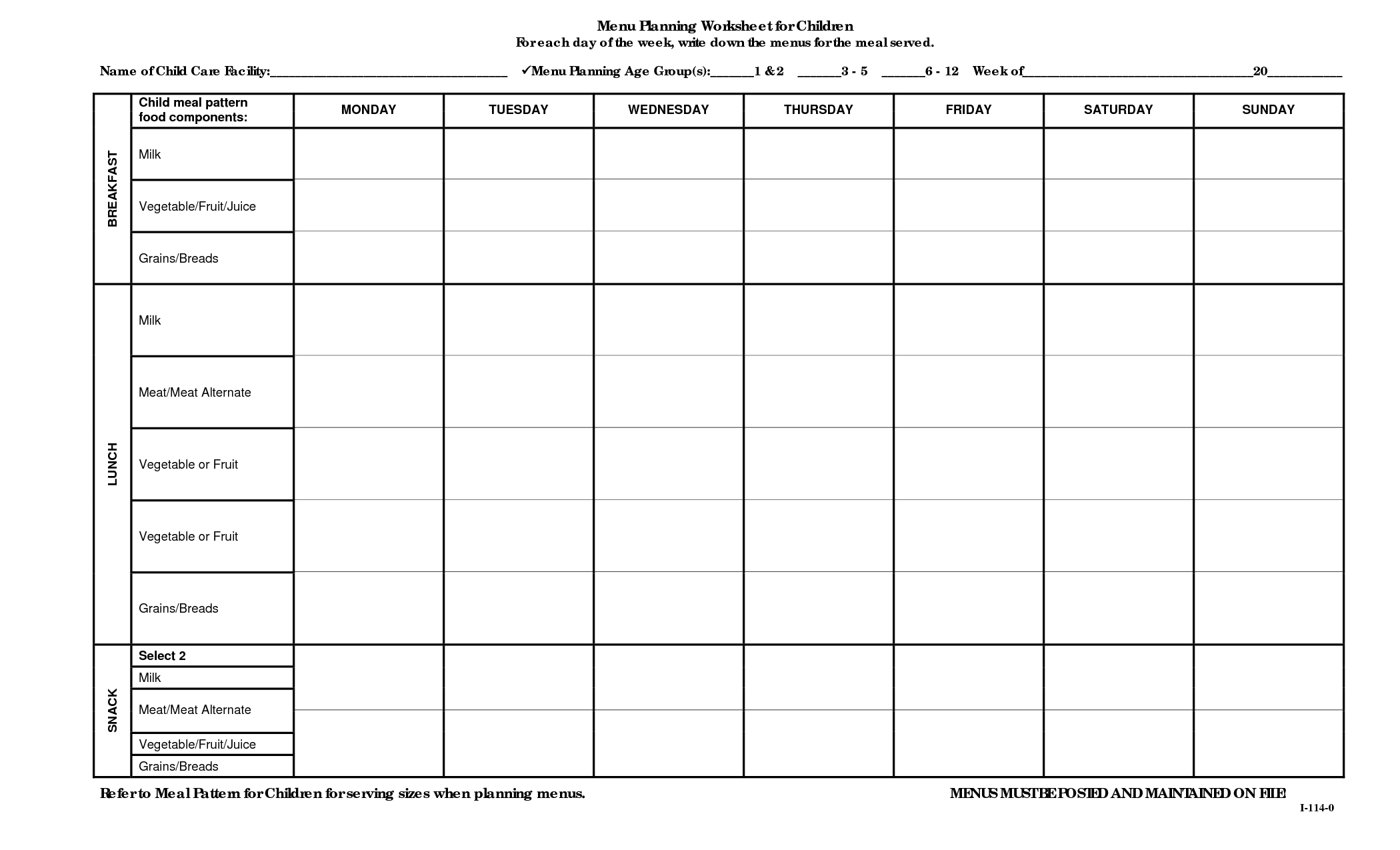 14 Best Images Of Dinner Plan Worksheet