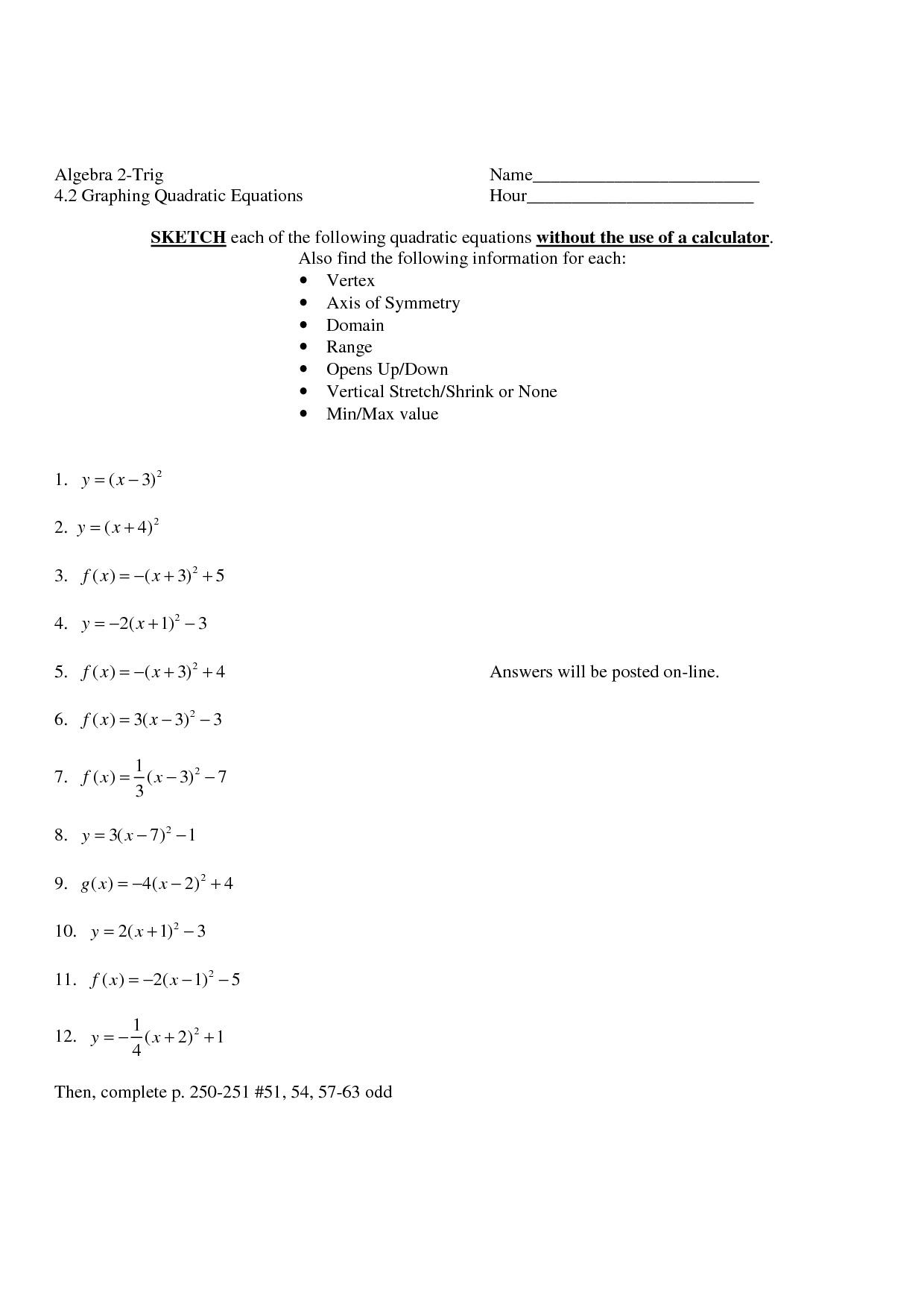 Worksheet Vertex Form Worksheet Worksheet Fun Worksheet Study Site