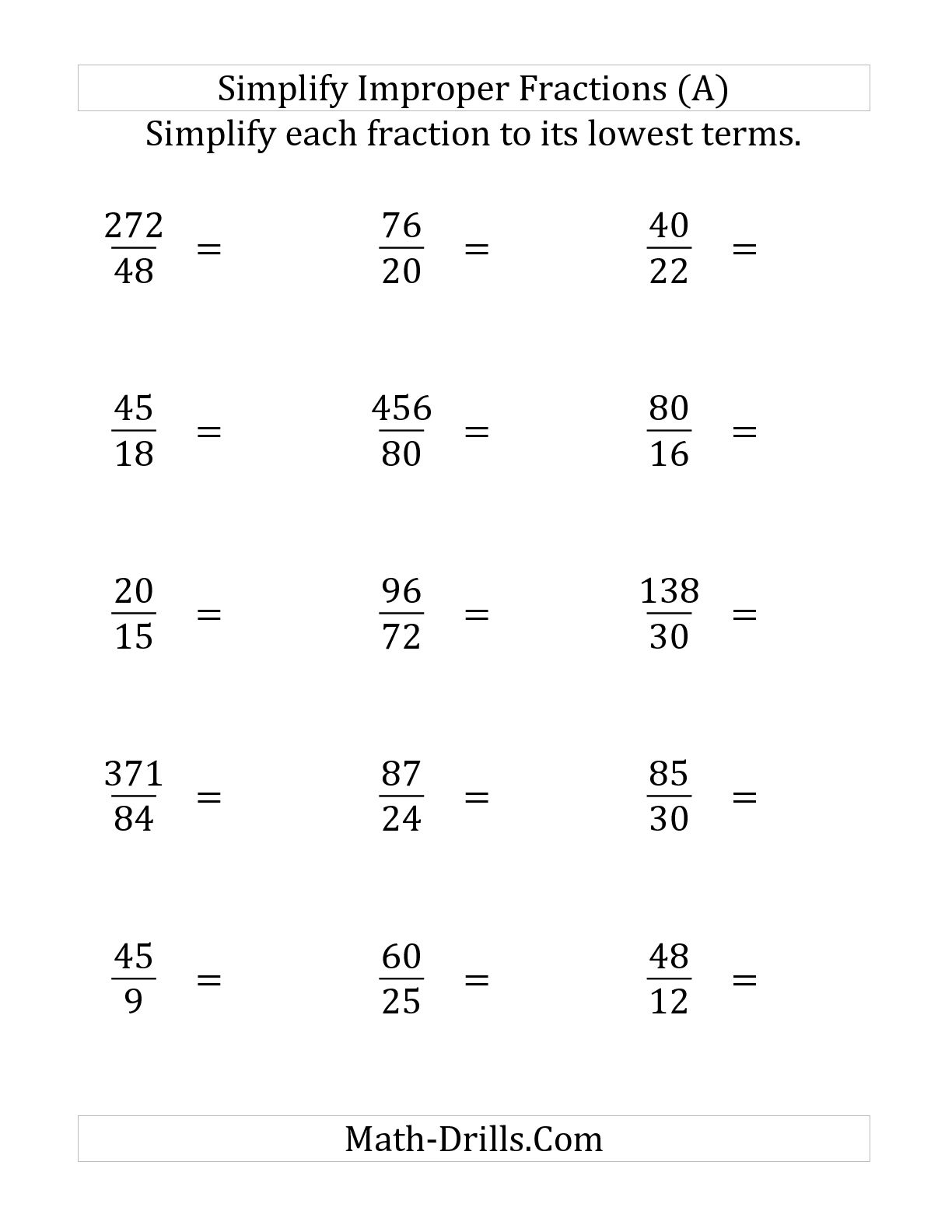 Reducing Fractions Worksheet Mon Core