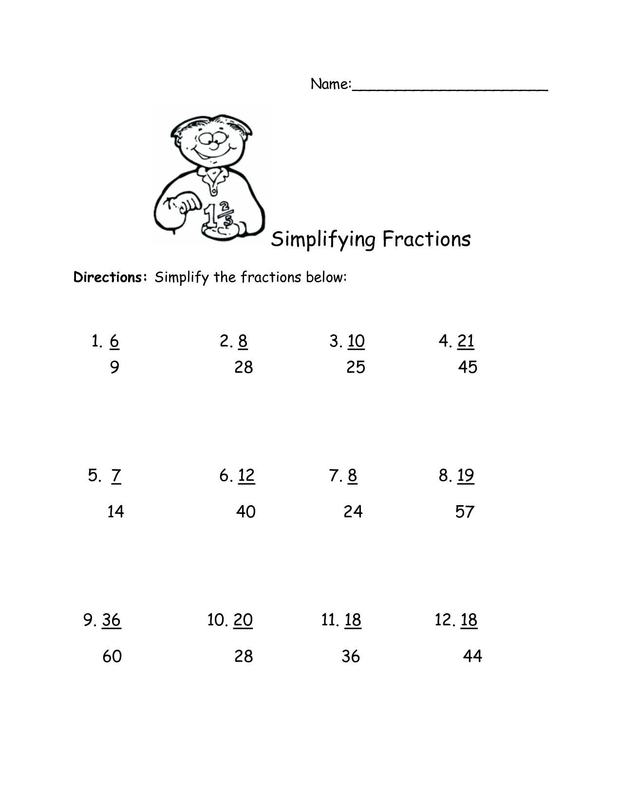 Simplifying Fractions Worksheet Christmas
