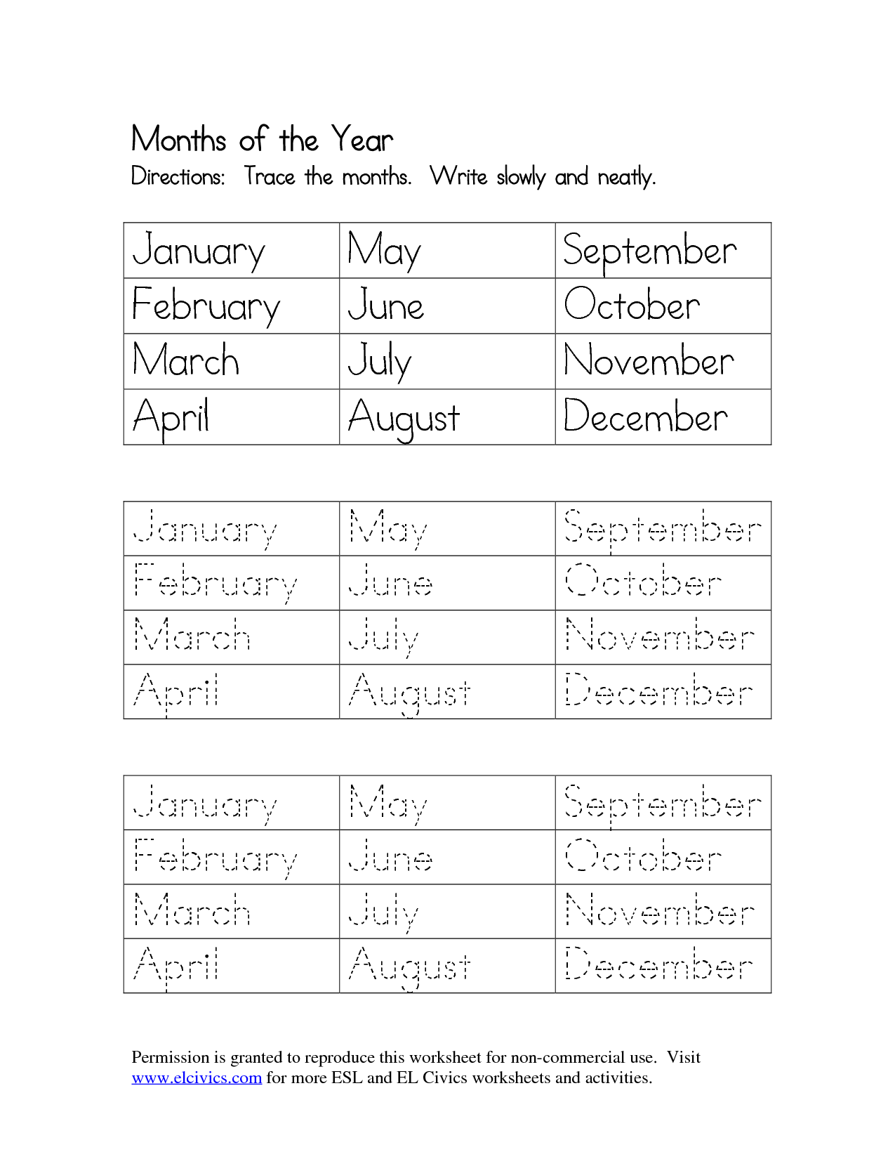 9 Best Images Of Months Of The Year Handwriting Worksheet