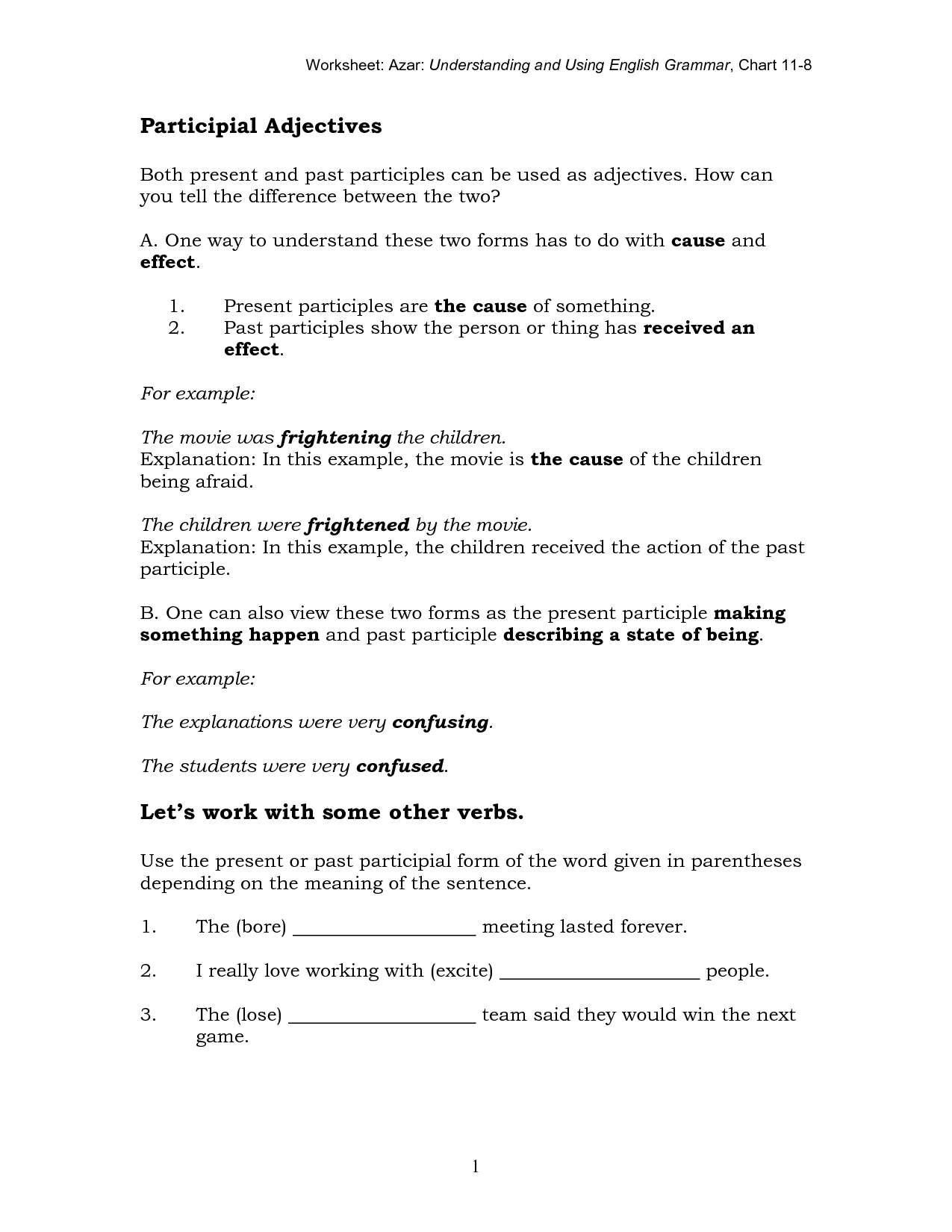 15 Best Images Of Esl Participial Adjectives Worksheets