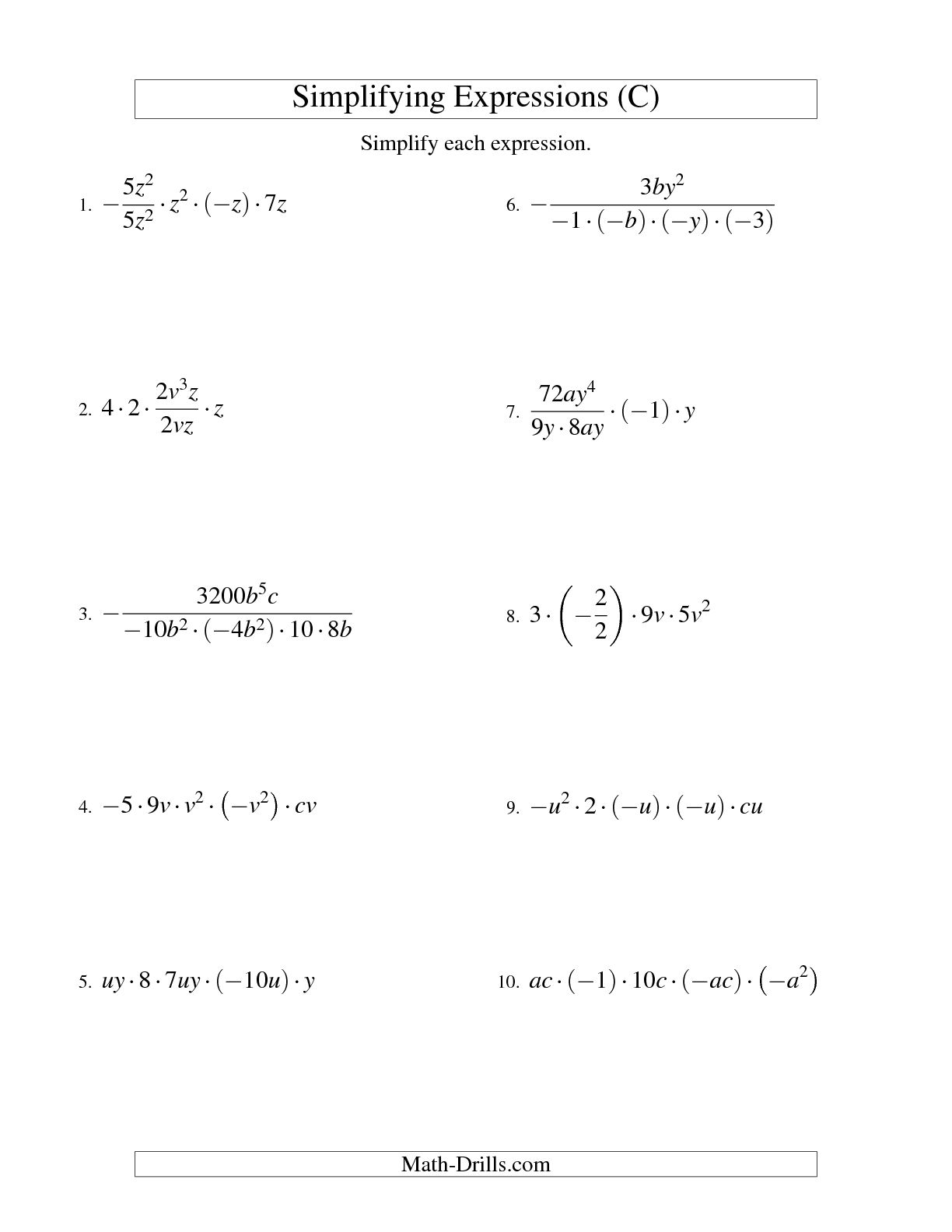 14 Best Images Of Simplifying Algebraic Expressions
