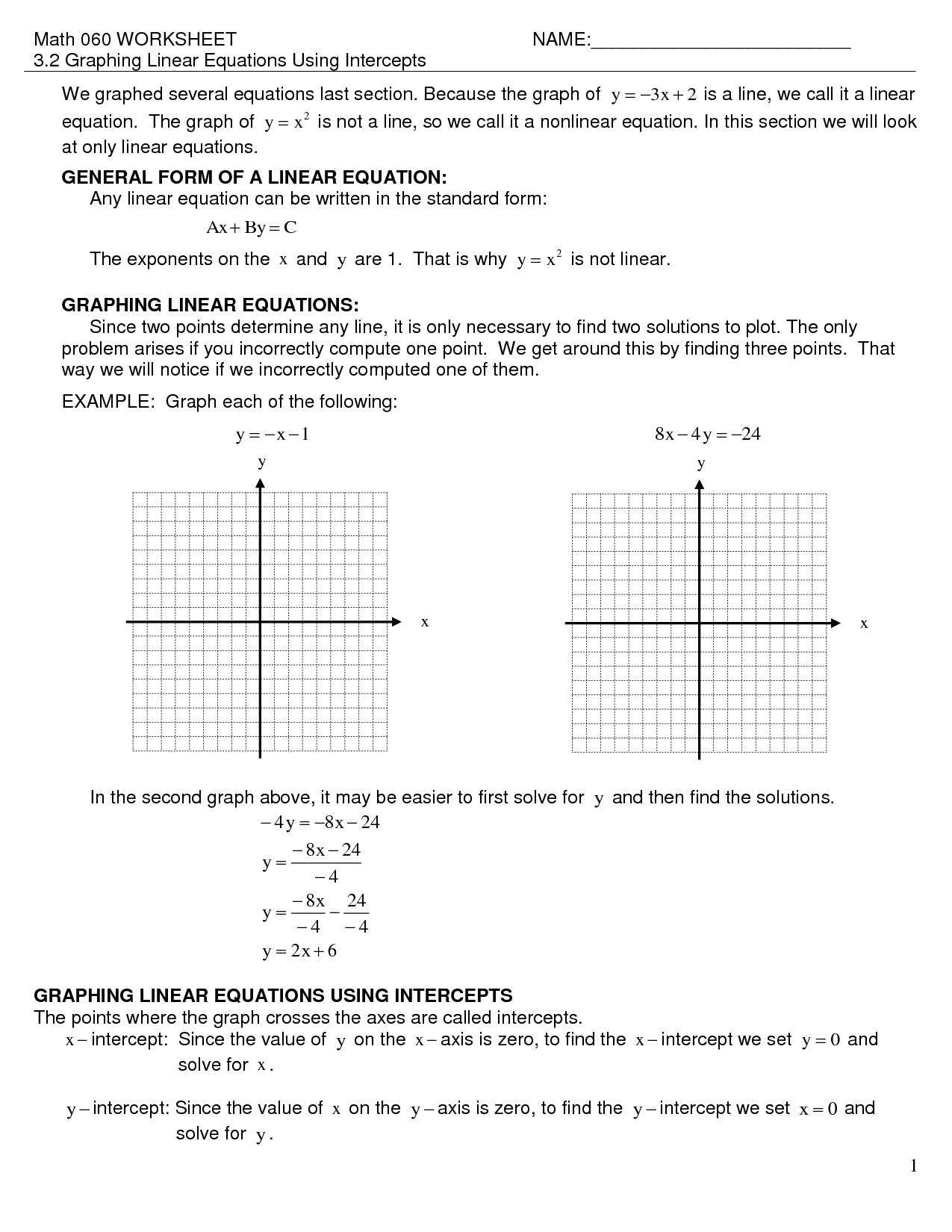 Graphing Linear Equations By Intercepts Worksheet