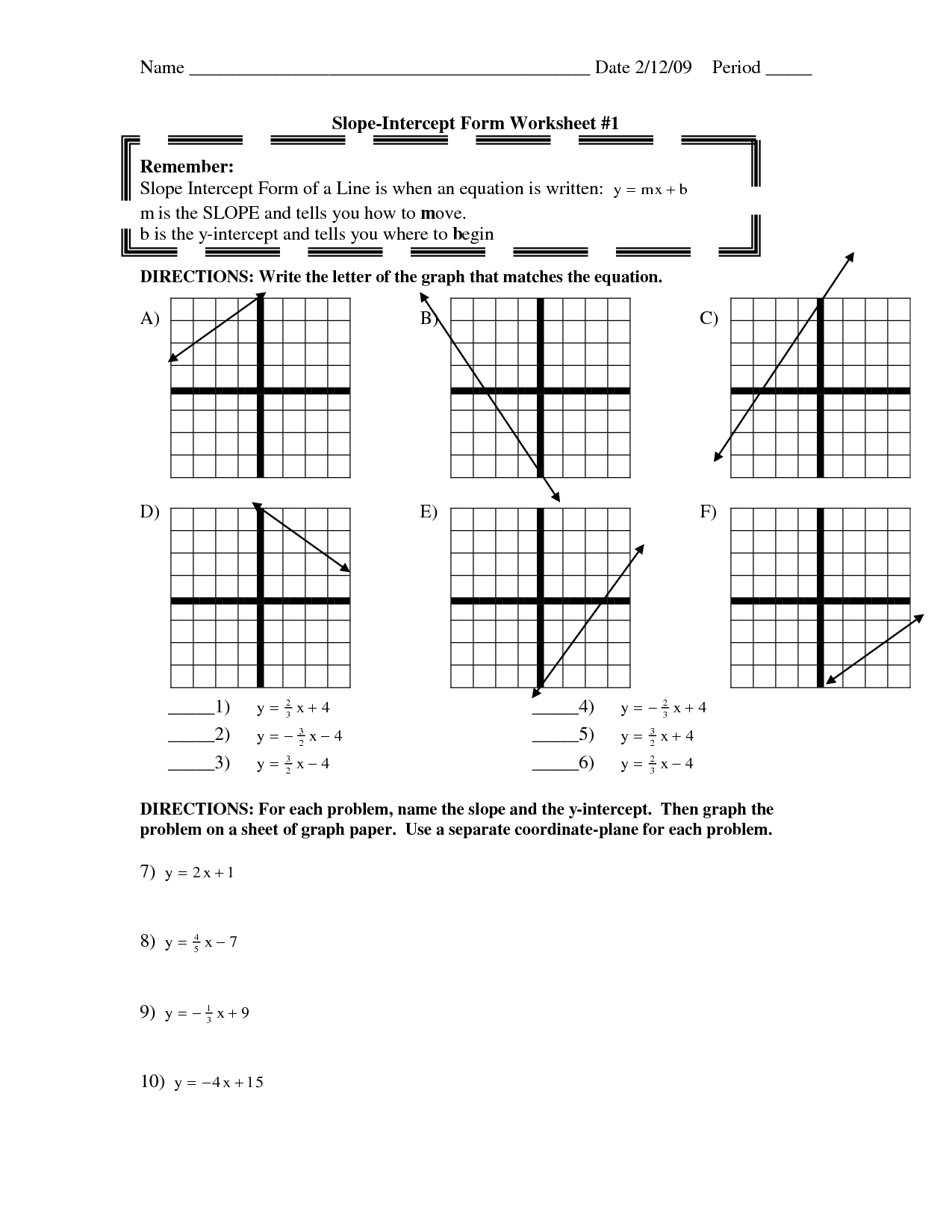 Find Slope And Y Intercept Worksheet Slope Worksheets Algebra 1 Worksheets Linear Equations