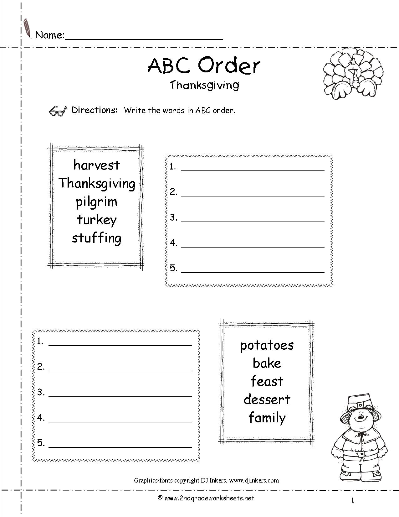Free Printable Thanksgiving Worksheet For First Grade