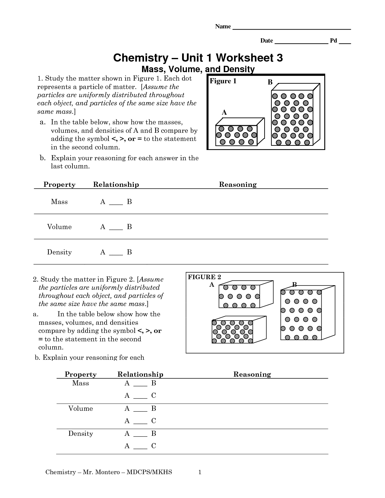 Simple Density Worksheet