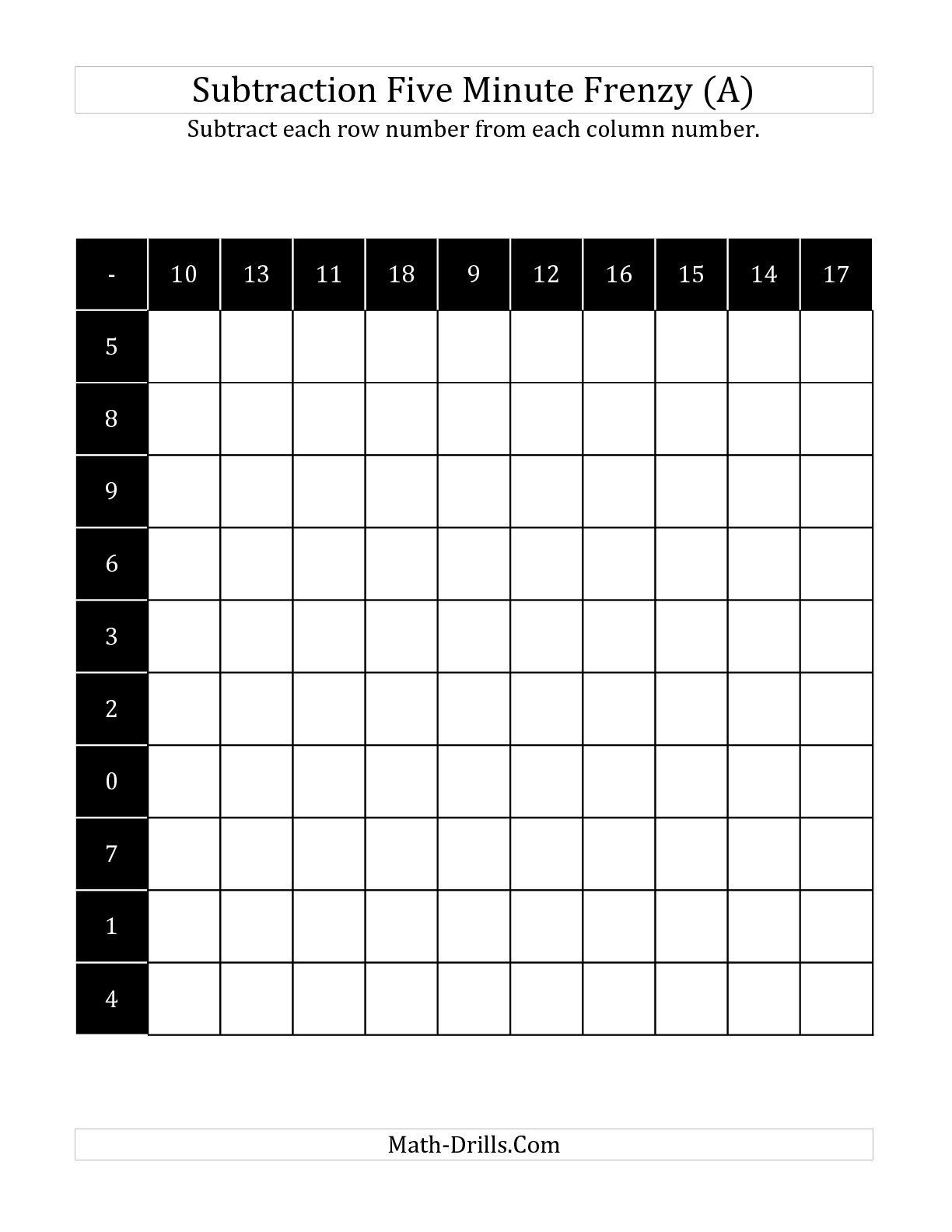 14 Best Images Of Timed Subtraction Worksheets