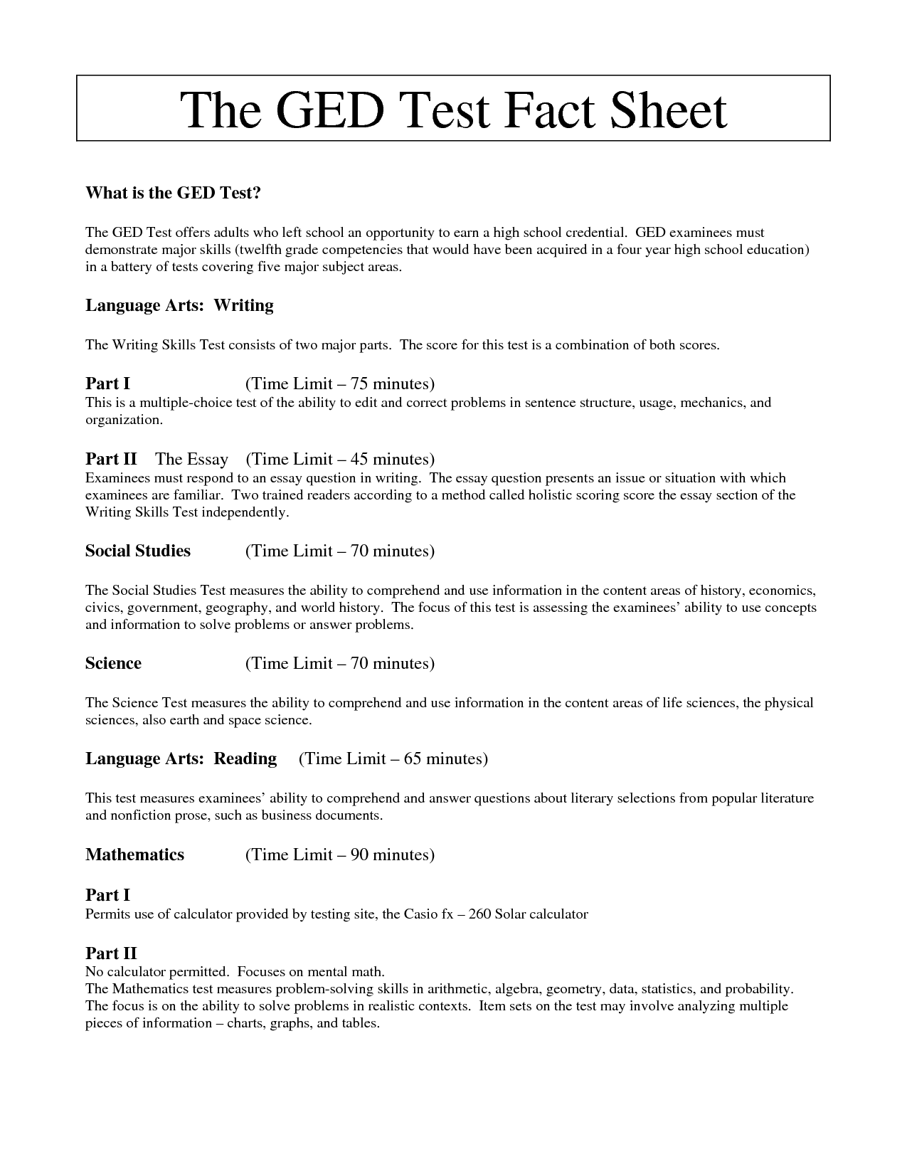 Best Printable Ged Practice Worksheets
